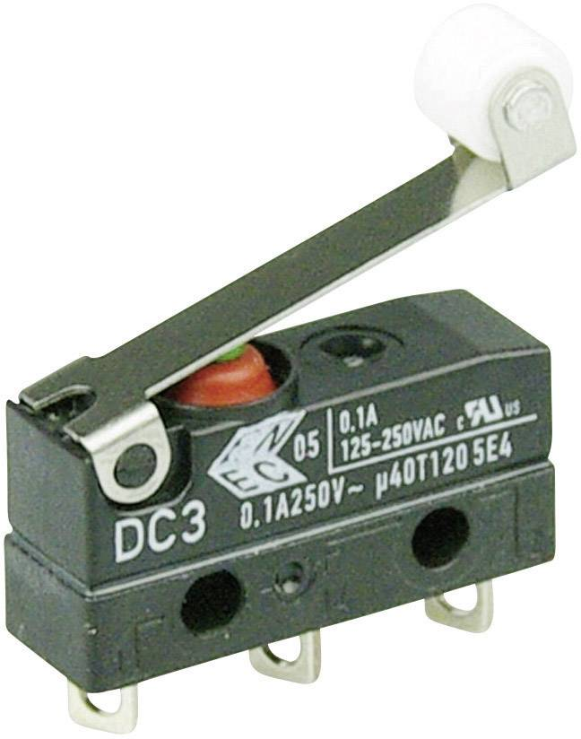 Mikrospínač - páka s valčekom Cherry Switches DC3C-A1RC, 250 V/AC, 0.1 A, IP67