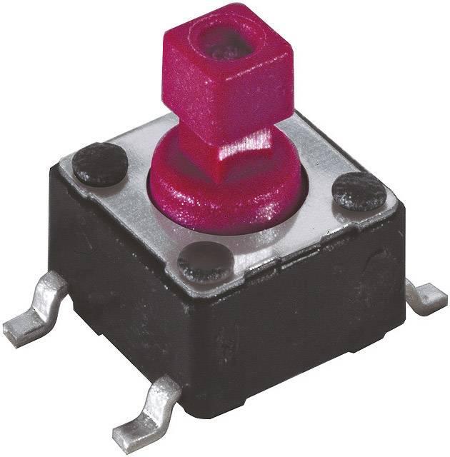 Tlačidlo, tlačidlo pre montáž na dosku plošných spojov Diptronics DTSM-644R-V-R, 12 V/DC, 0.05 A, čierna, 1 ks