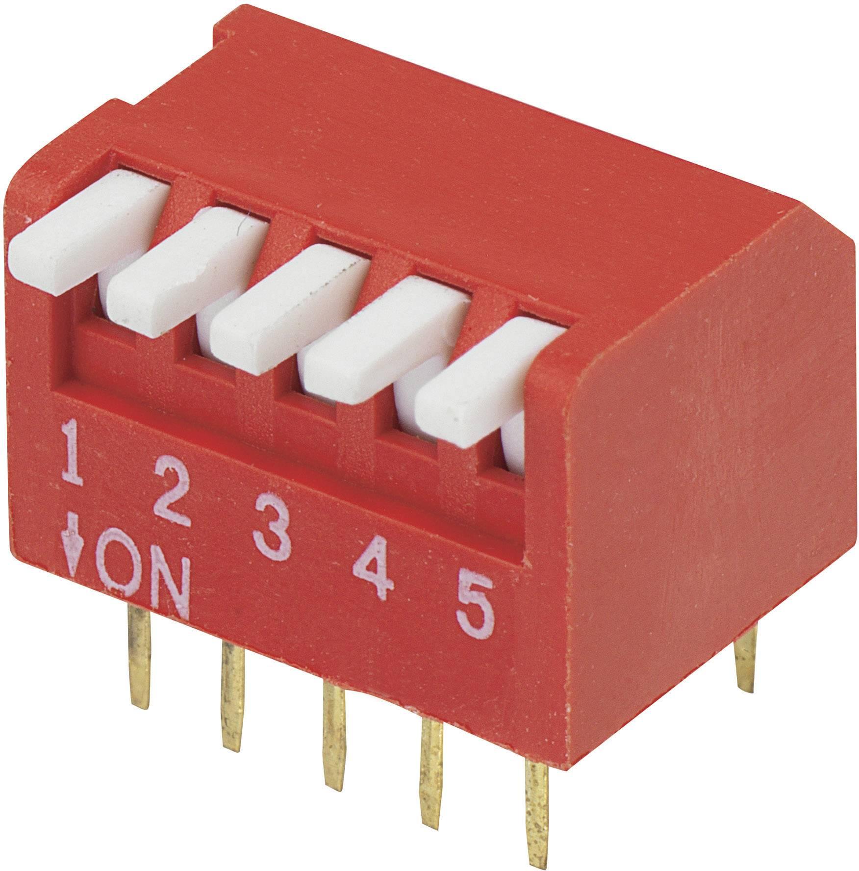 DIP spínač DP-05, 10,6 x 9,7 mm, 5pól.