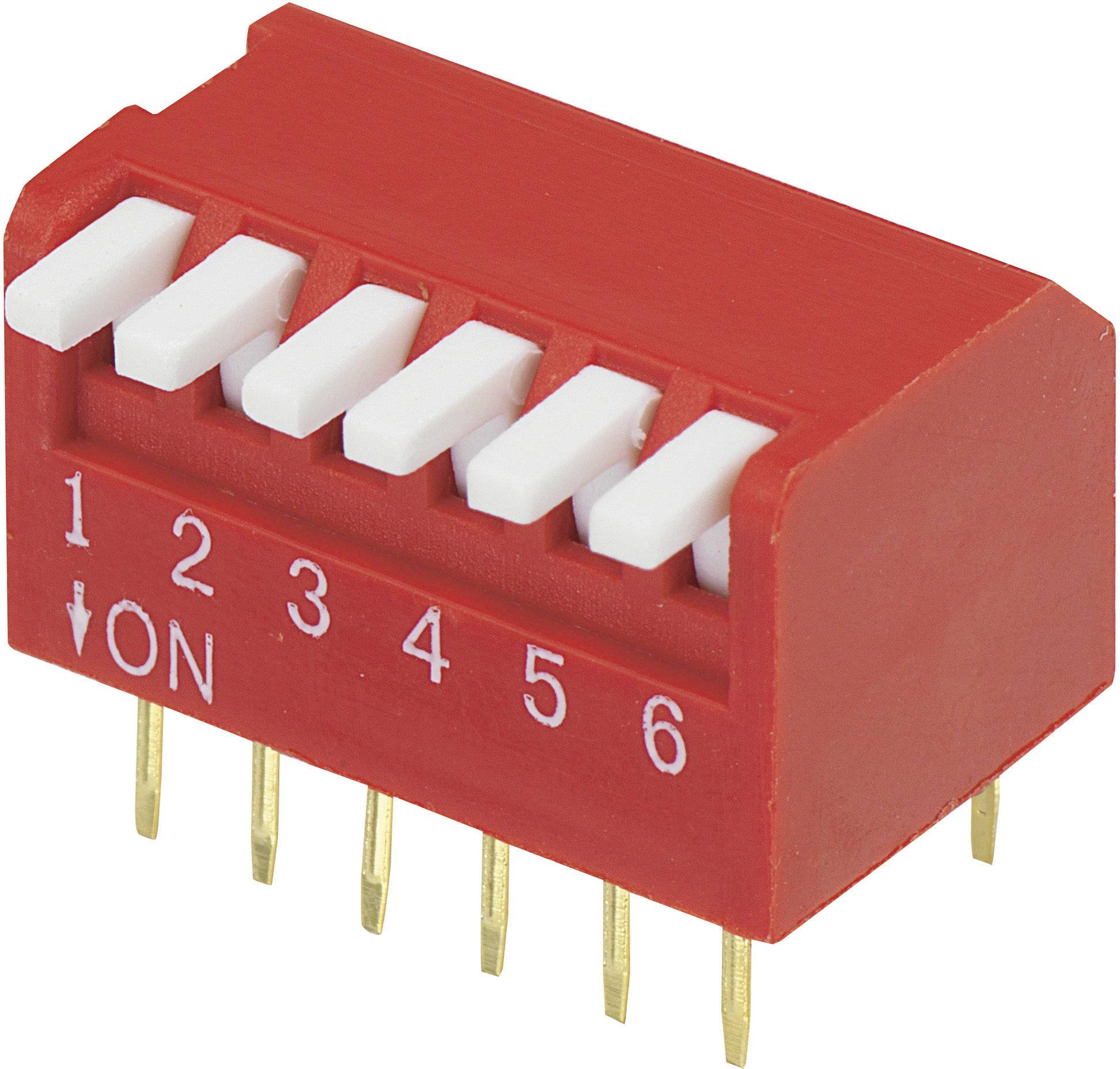 DIP spínač DP-06, (š x v) 10,6 mm x 9,7 mm