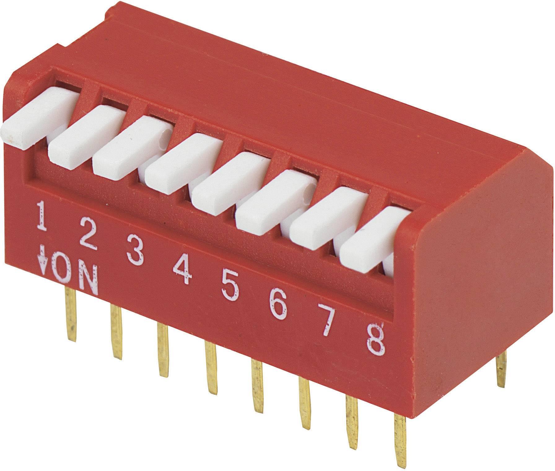 DIP spínač DP-08, (š x v) 10,6 mm x 9,7 mm