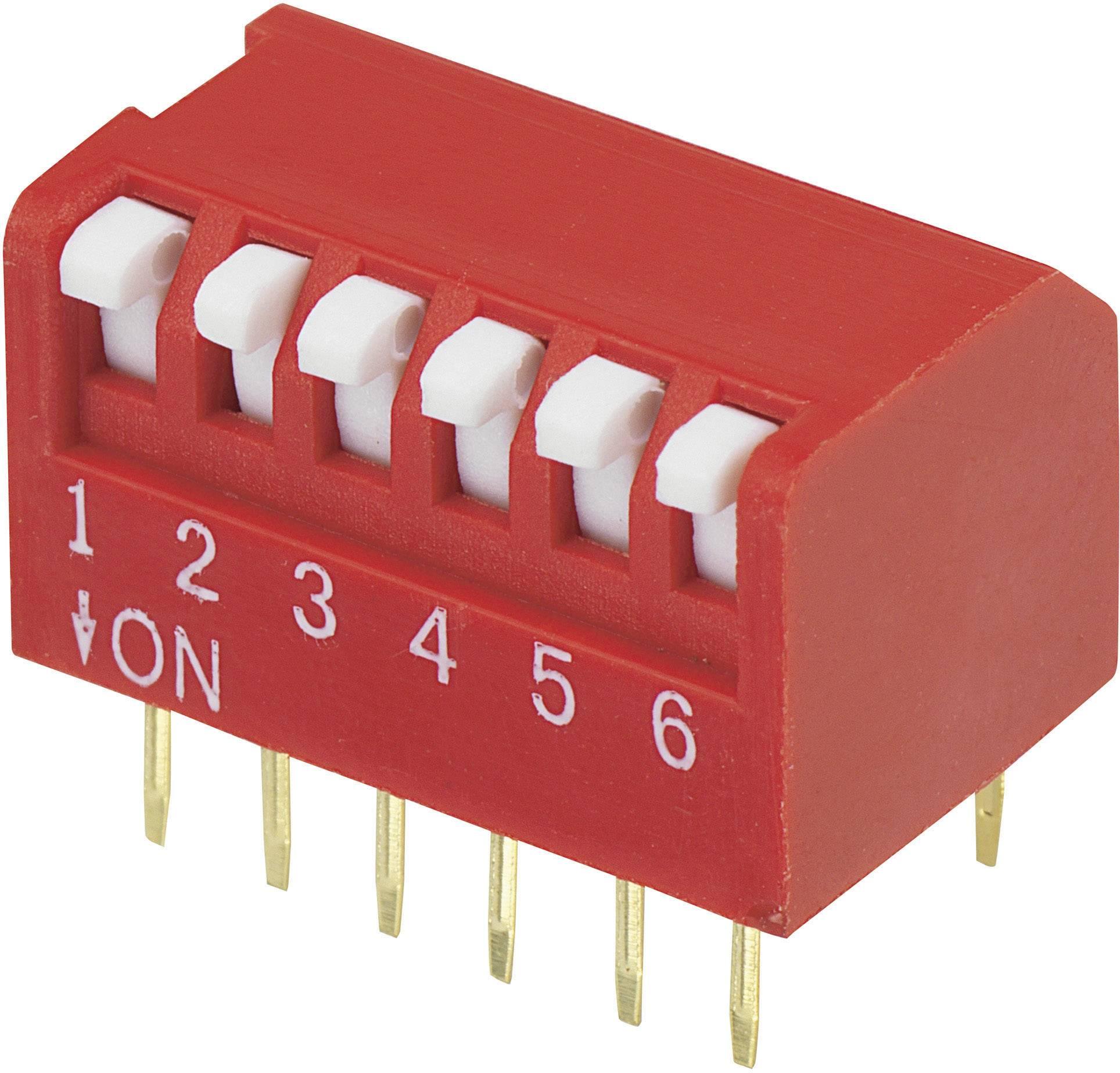 DIP spínač DPR-06, (š x v) 10,6 mm x 9,7 mm