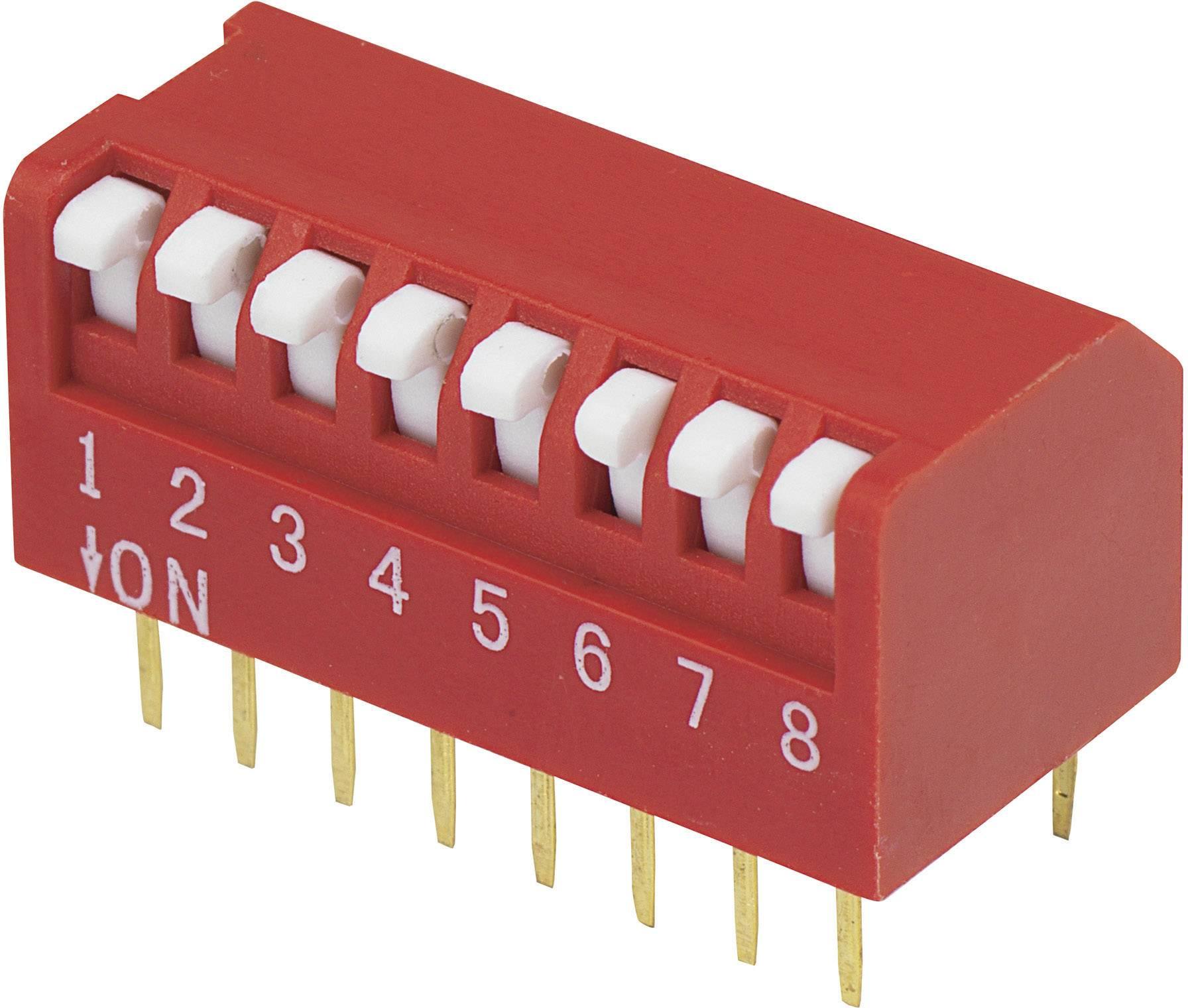 DIP spínač DPR-08, (š x v) 10,6 mm x 9,7 mm