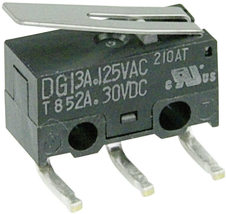 Mikrospínač - rovná kovová páka Cherry Switches DG13-B2LA, 125 V/AC, 3 A
