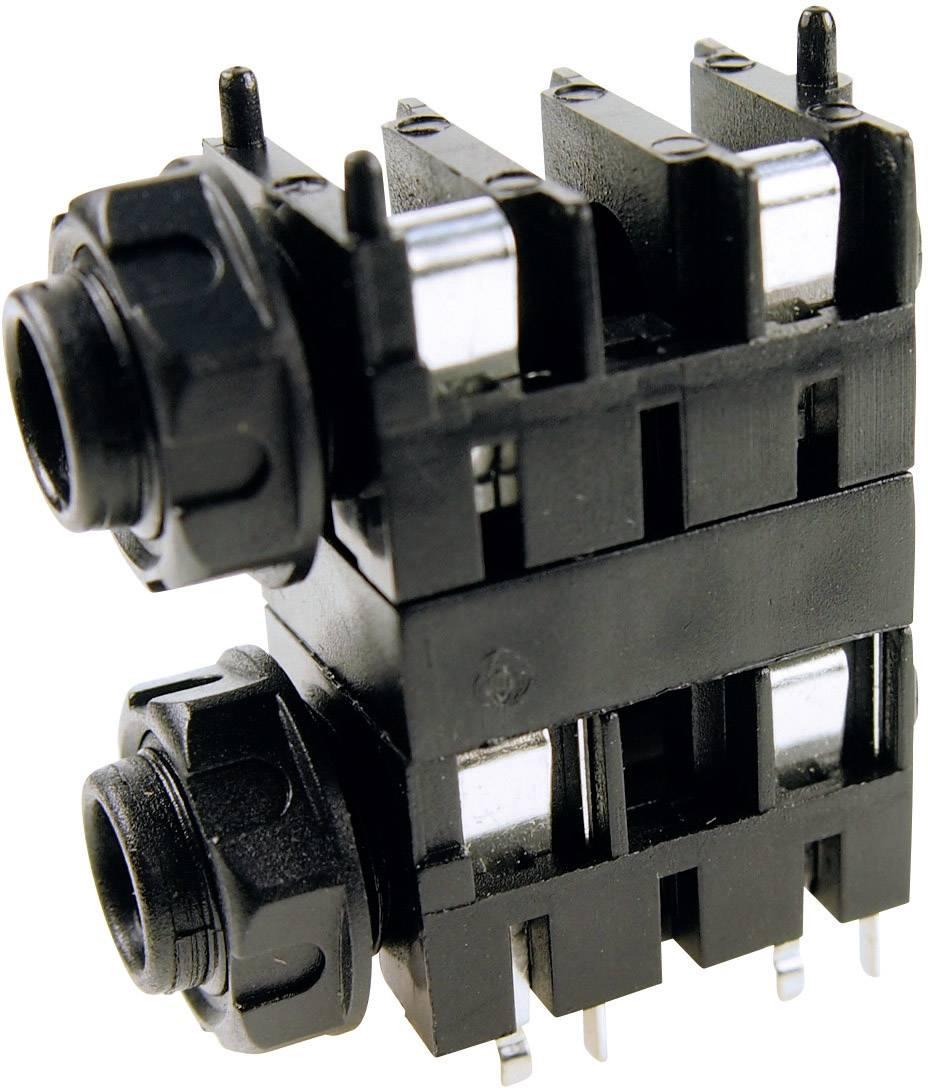 Jack konektor 6,35 mm mono Cliff FCR1120, zásuvka vestavná horizontální, 2pól., černá