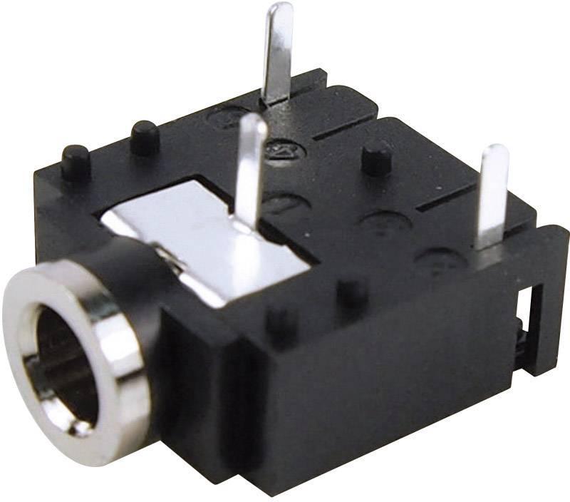 Jack konektor 3,5 mm stereo Cliff FC68131, zásuvka vestavná horizontální, 3pól., černá