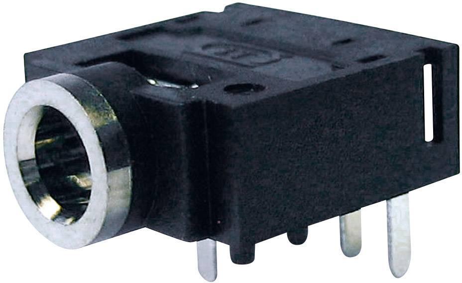 Jack konektor 3.5 mm stereo zásuvka, vstavateľná horizontálna Cliff FC68133, počet pinov: 4, čierna, 1 ks