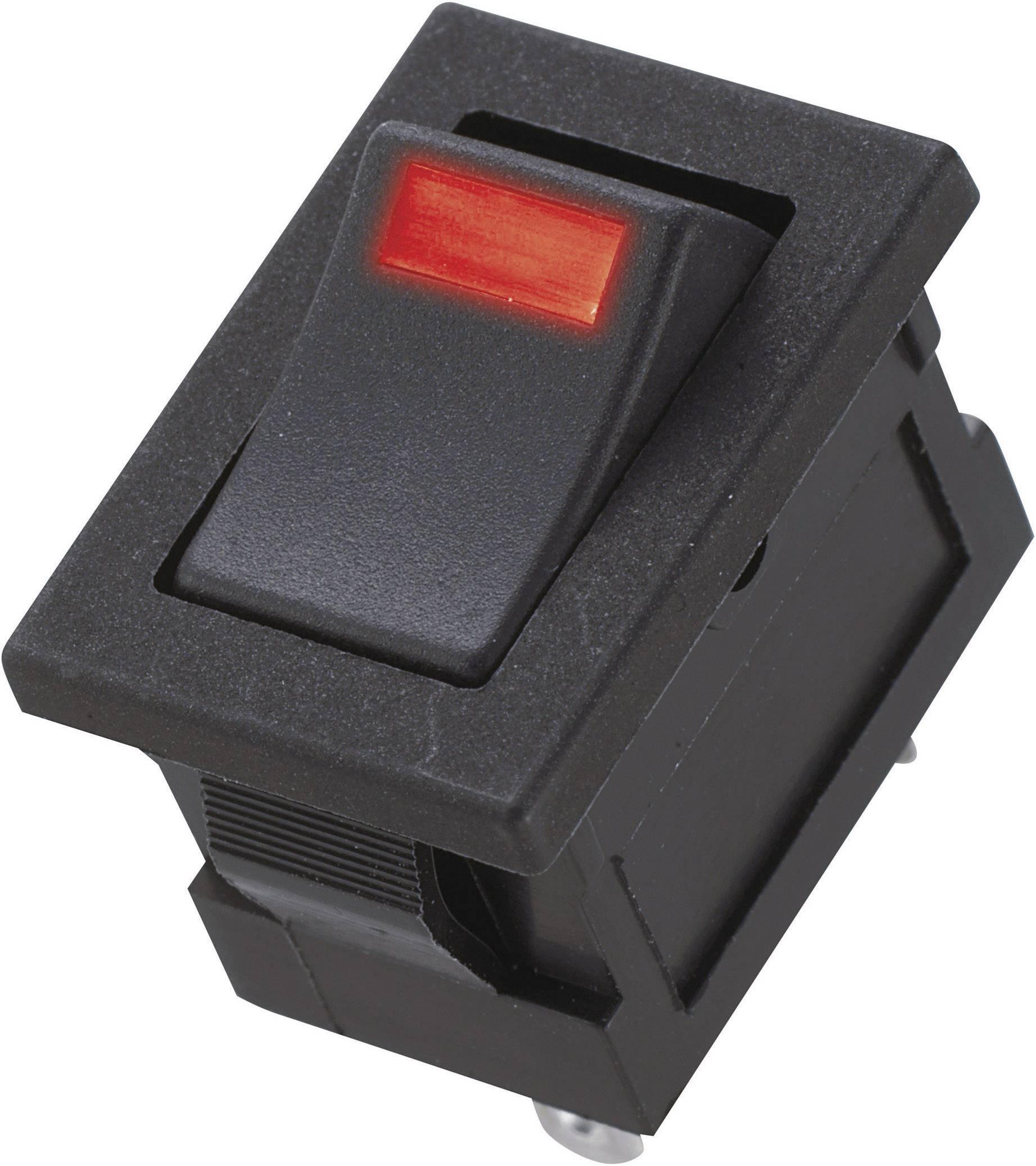 Kolískový spínač s aretáciou Miyama DS-850-K-F1-LR, 250 V/AC, 3 A, 1x vyp/zap, Farba svetla: červená, 1 ks