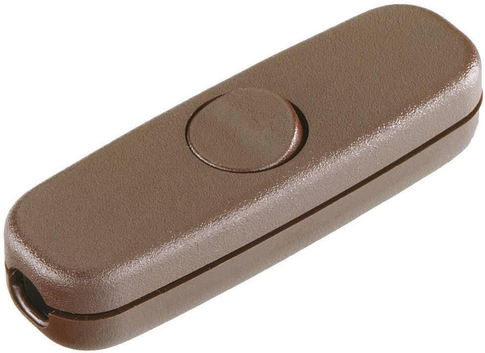 Šnúrový spínač interBär 5055-009.01, 3 A, hnedá, 1 ks