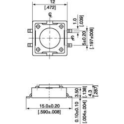 SMD TLAČÍTKO 12 X 12 mm VÝŠKA4 .3