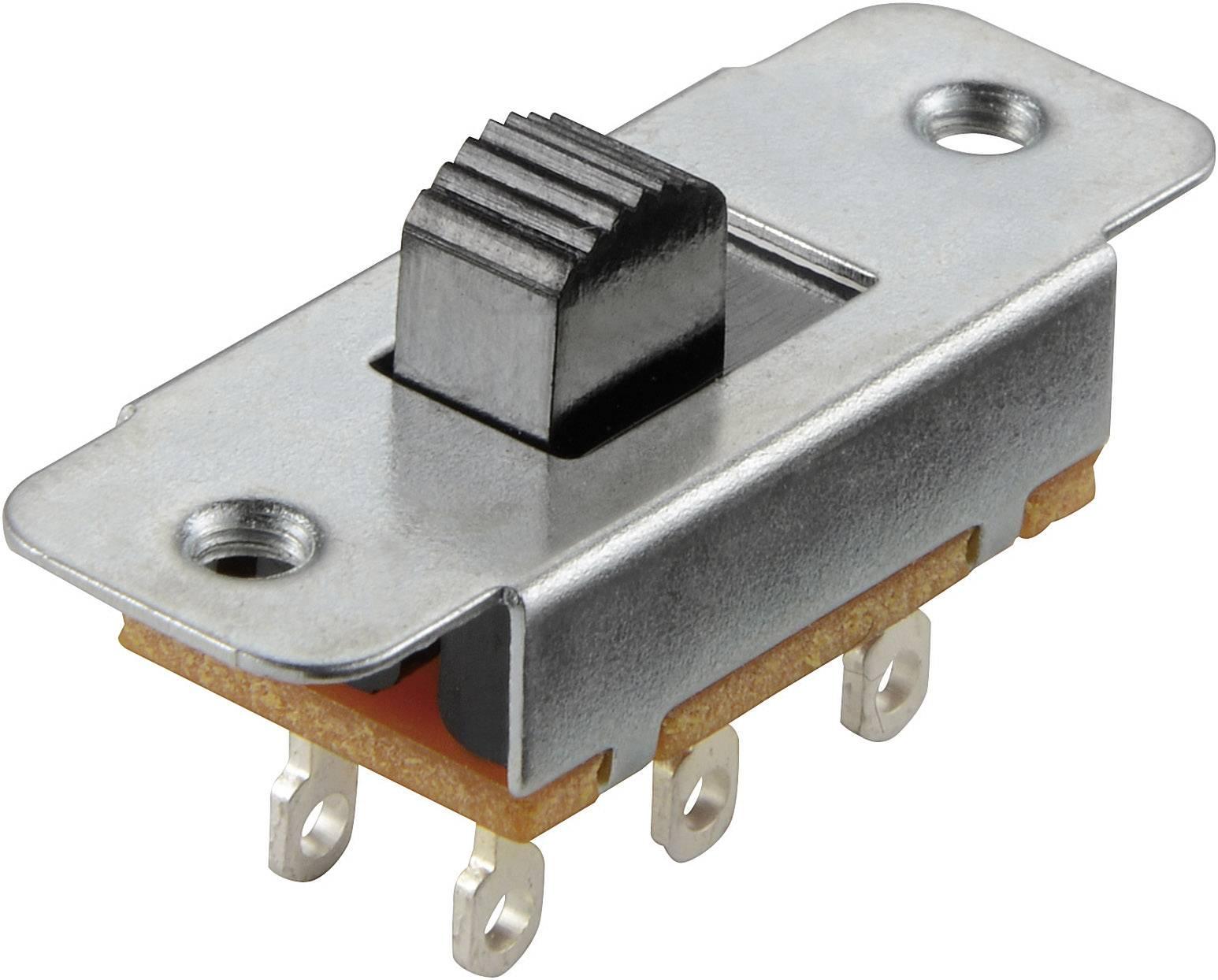 Posuvný přepínač TRU COMPONENTS 125 V/AC, 0.5 A, 2x zap/zap, 1 ks