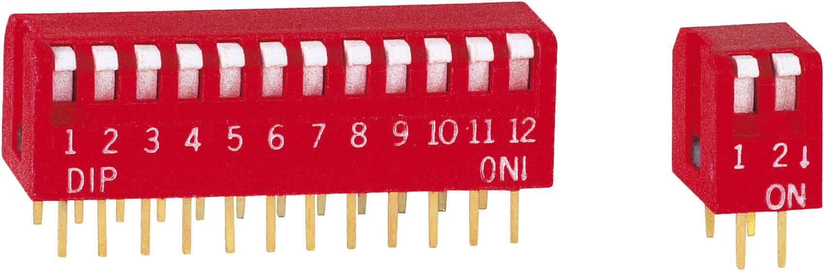 DIP spínač, typ piano, DP-08V, 8pólový, rastr: 2,54 mm