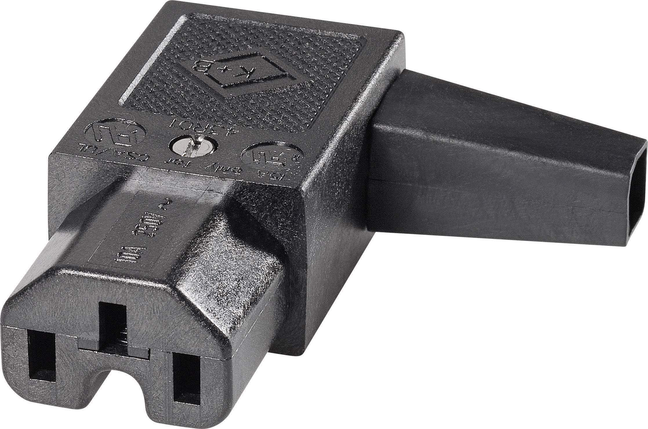 IEC konektor C15/C16 K & B 43R012111;C15, zásuvka, zahnutá, počet kontaktov: 2 + PE, 10 A, 250 V, čierna, 1 ks