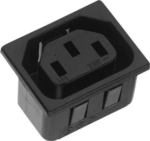 IEC zástrčka C13/C14 K & B 43R033121150;C13, zásuvka, vstavateľná vertikálna, počet kontaktov: 2 + PE, 10 A, 250 V, čierna, 1 ks