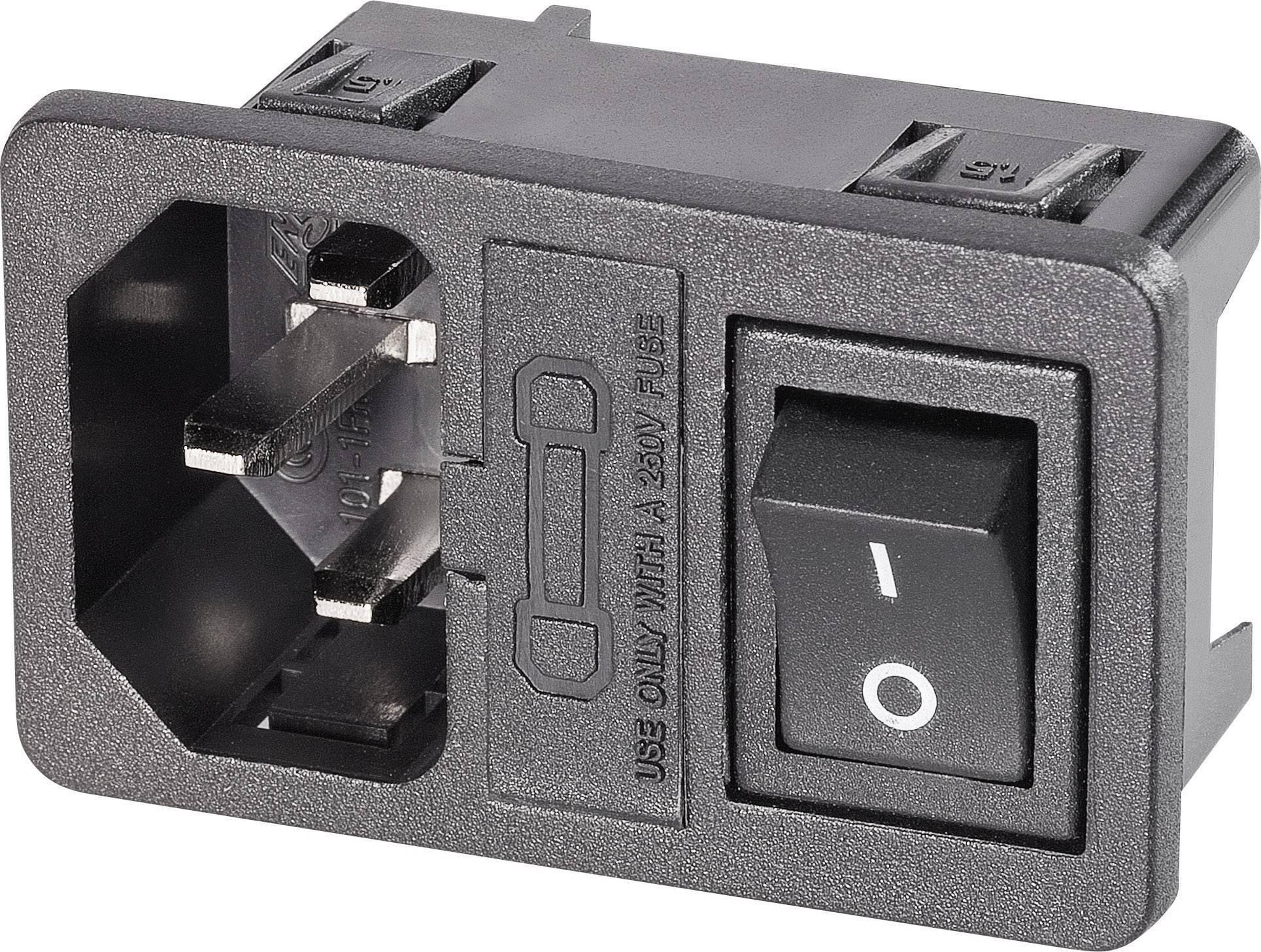 IEC zástrčka C13/C14 K & B 59JR101-1FRS150;C14, zástrčka, vstaviteľná vertikálna, počet kontaktov: 2 + PE, 250 V/AC, čierna, 1 ks