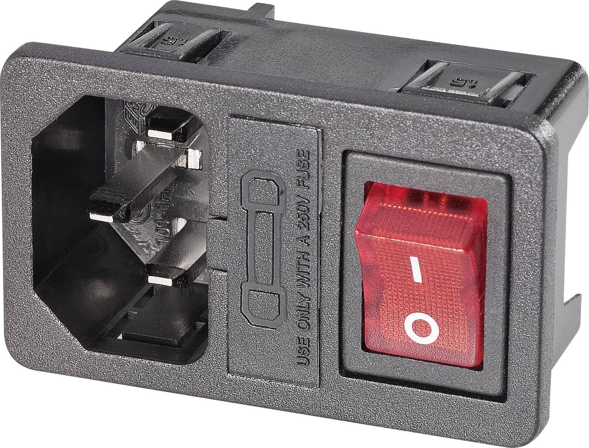 Vestavná síťová IEC zástrčka C14 s vypínačem K+B, 250 V, 16 A, vertikální, 59JR101-1FRS-LR150