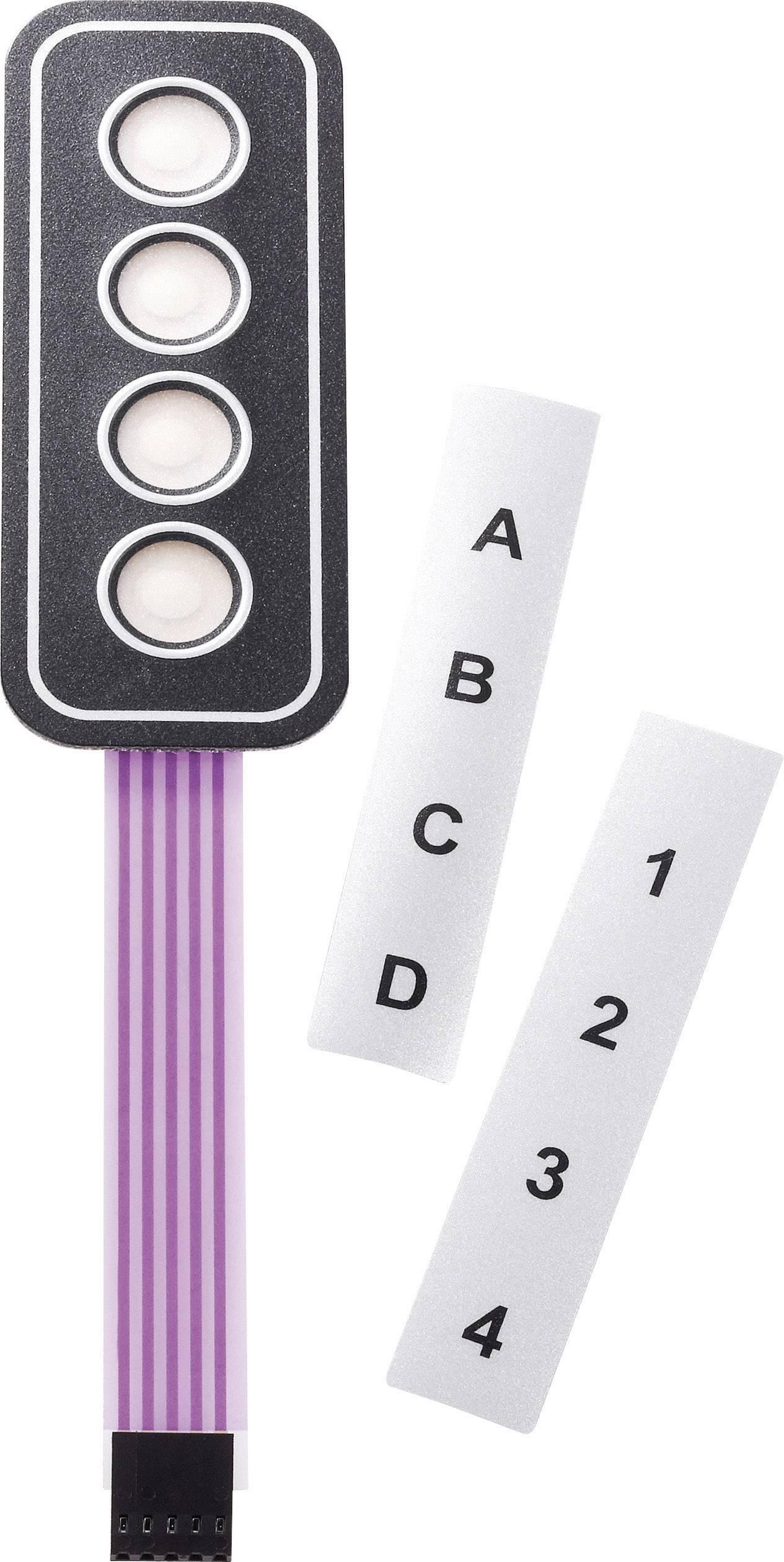 Fóliová klávesnica samolepiace, s popisnými prúžkami 1 x 4 APEM AC3533, 1 ks