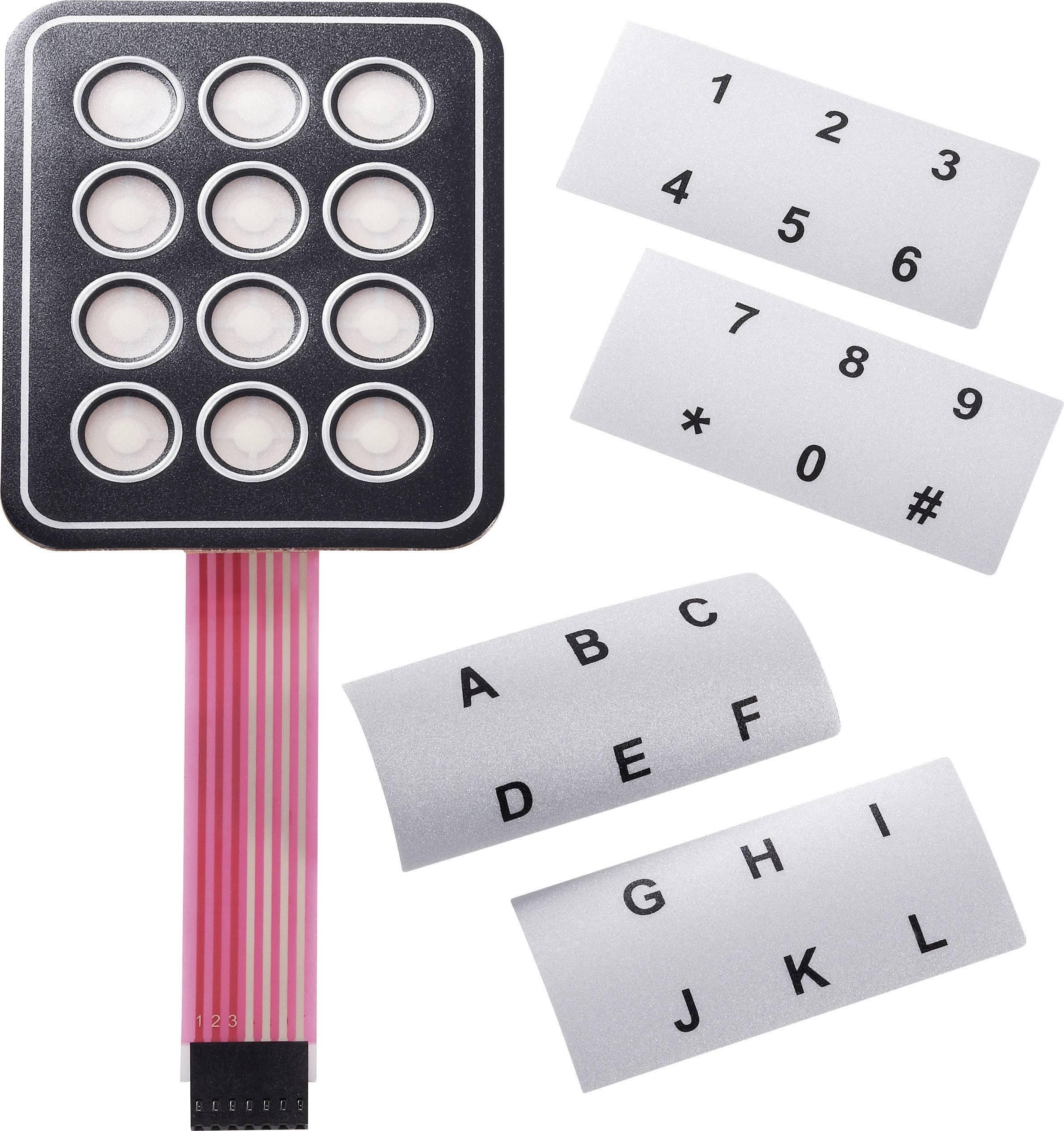 Fóliová klávesnica samolepiace, s popisnými prúžkami 4 x 4 APEM AC3535, 1 ks