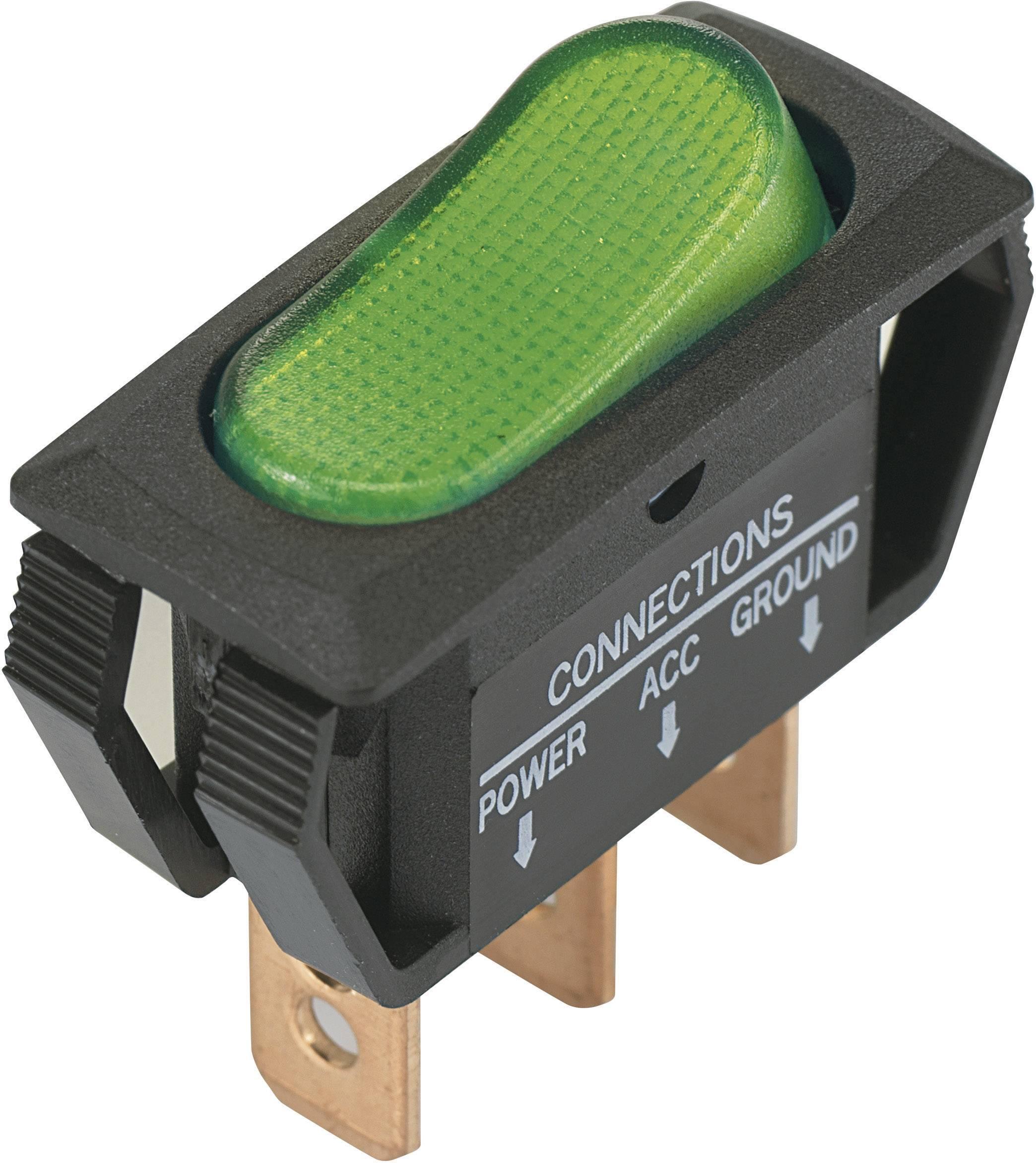 Kolískový spínač s aretáciou SCI R13-242B2, 12 V/DC, 25 A, 1x vyp/zap, Farba svetla: zelená, 1 ks