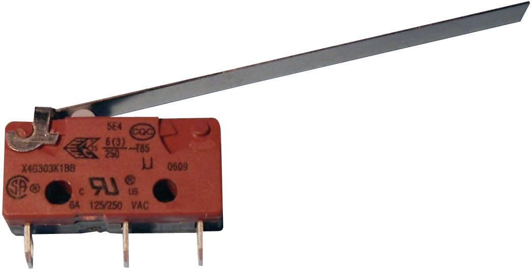Mikrospínač - rovná kovová páka Saia X4G303N1BBJ61, 250 V/AC, 2.5 A, IP40