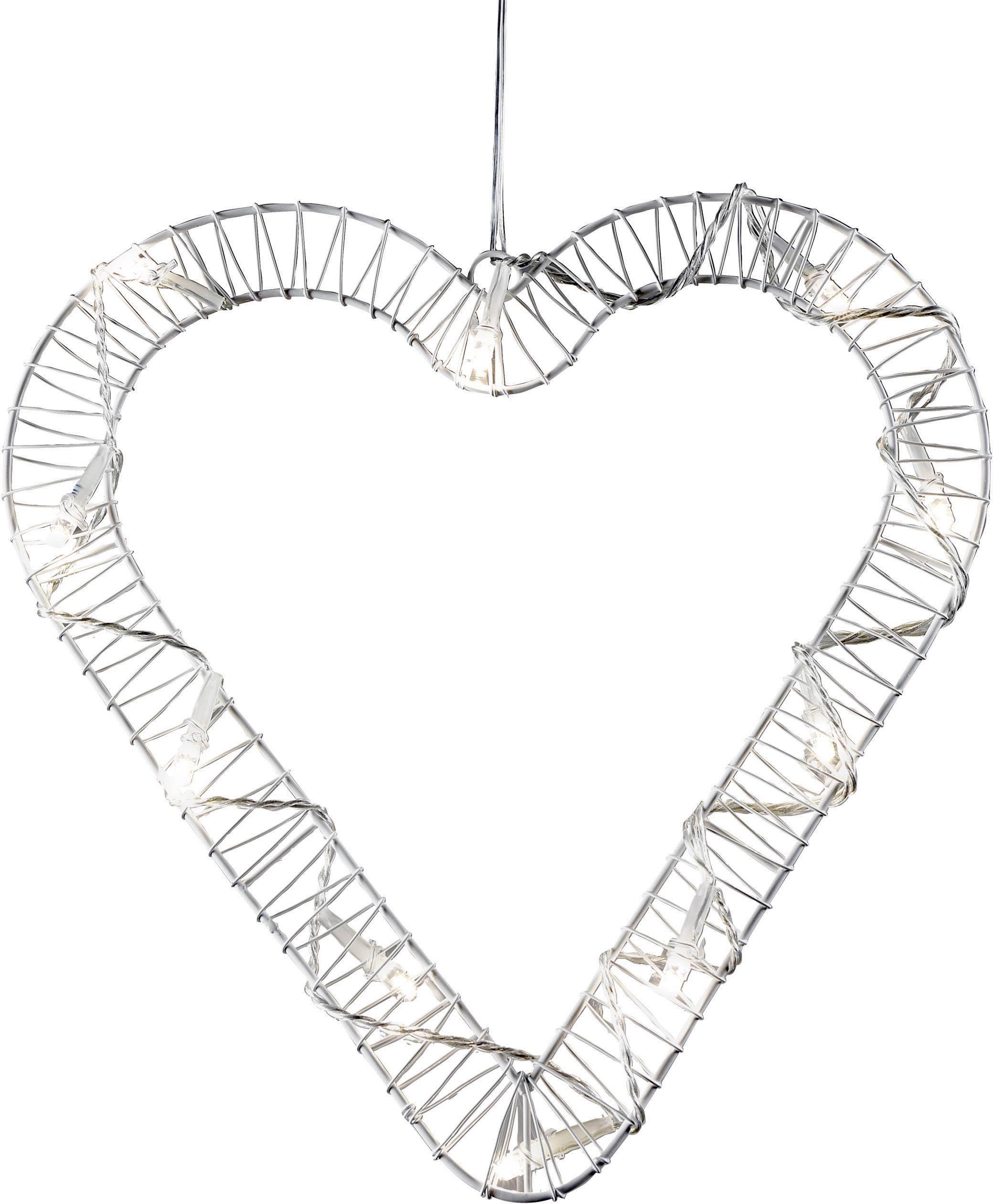 LED srdce ozdoba do okna Polarlite 709660, biela