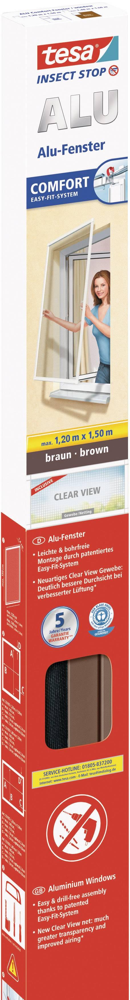 Sieť proti hmyzu do okna Tesa Comfort s hliníkovým rámom, 55195-01, 1.2 x 1.5 m, hnedá