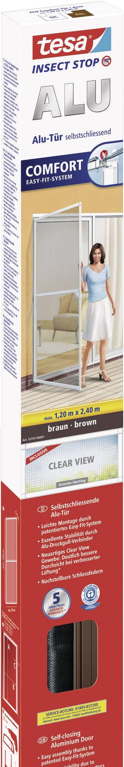 Sieť proti hmyzu do dverí Tesa Comfort s hliníkovým rámom, 55197-01, 1.2 x 2.4 m, hnedá