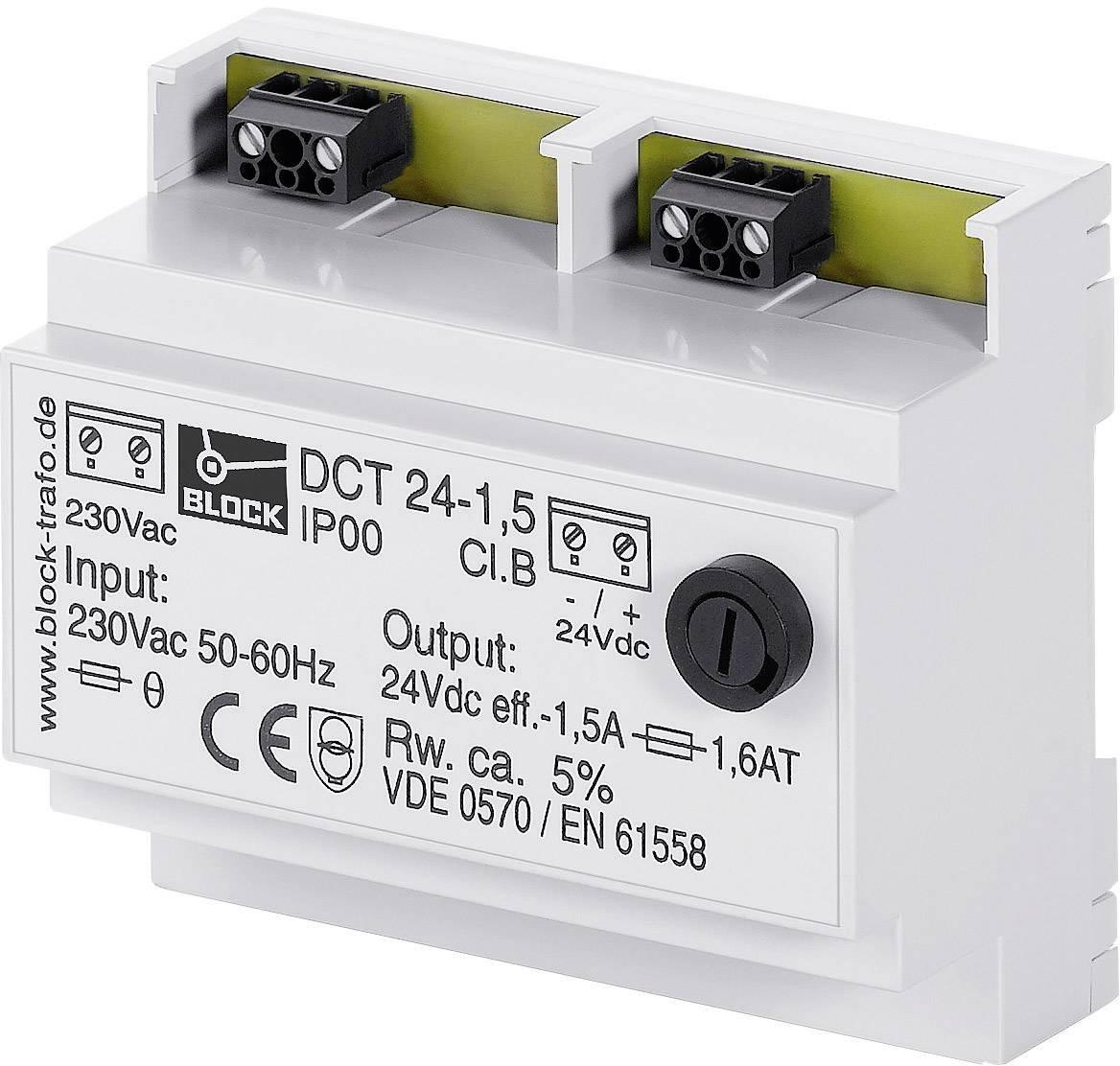 Napájací zdroj na DIN lištu Block DCT 24-2.5, 24 V/DC, 60 VA