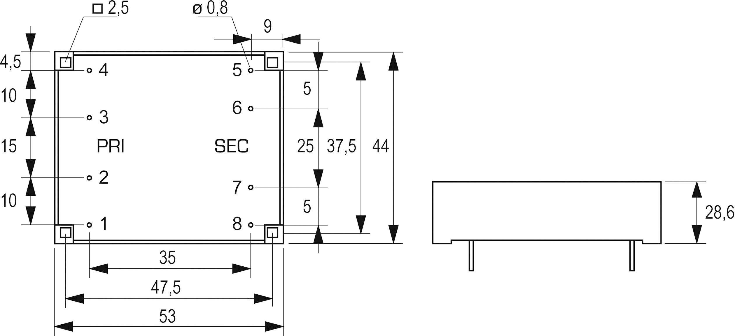 Transformátor do DPS Block FL 8/15, 8 VA