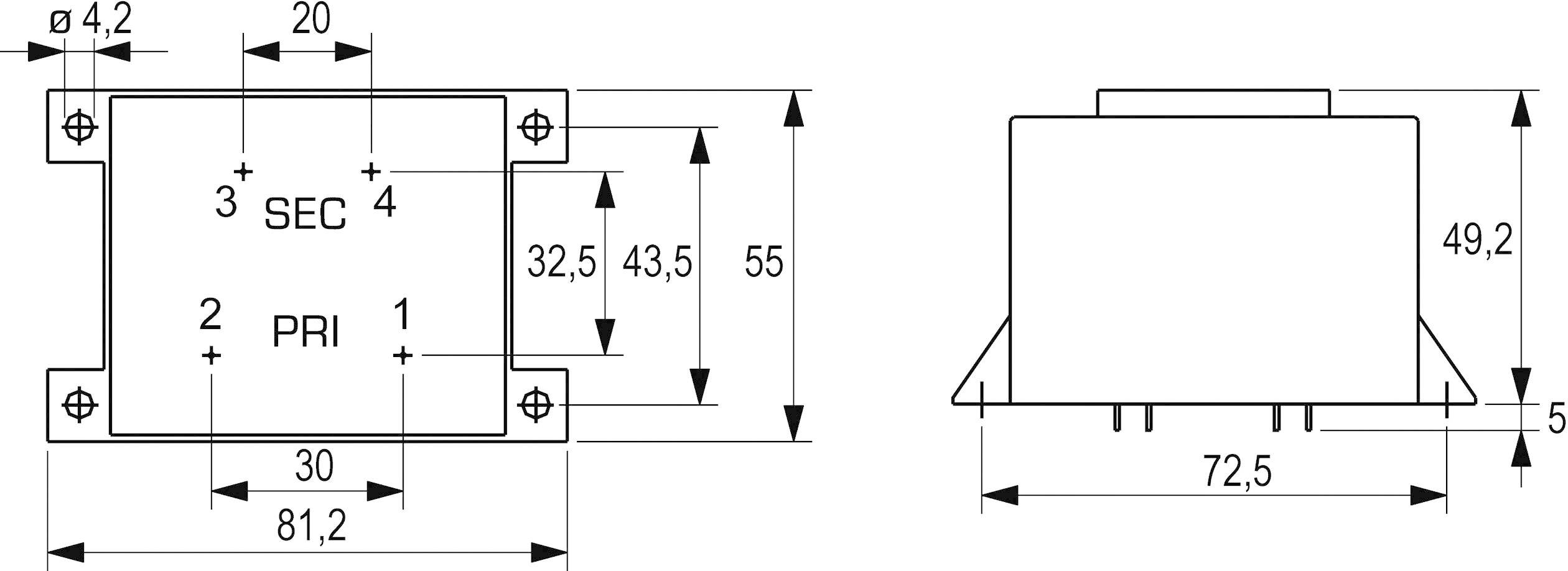 Transformátor do DPS Block VCM 25/1/18, 25 VA
