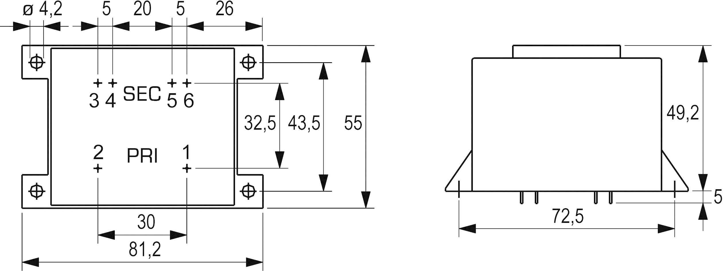 Transformátor do DPS Block VCM 25/2/12, 25 VA