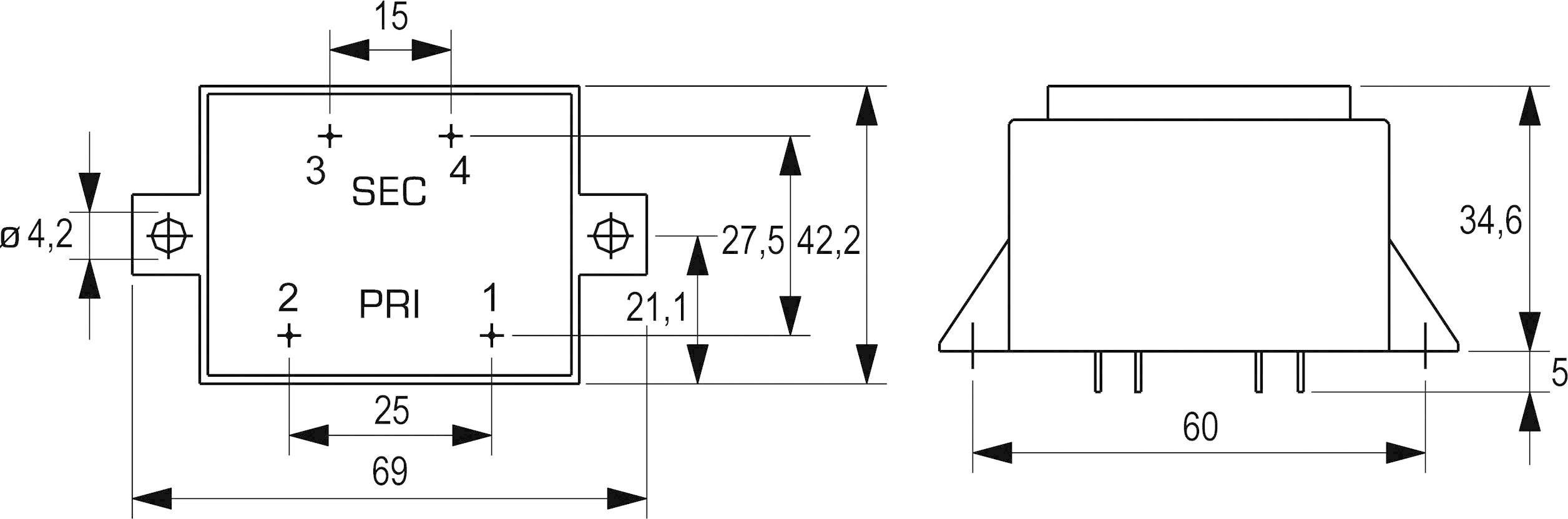 Transformátor do DPS Block VCM 10/1/24, 10 VA