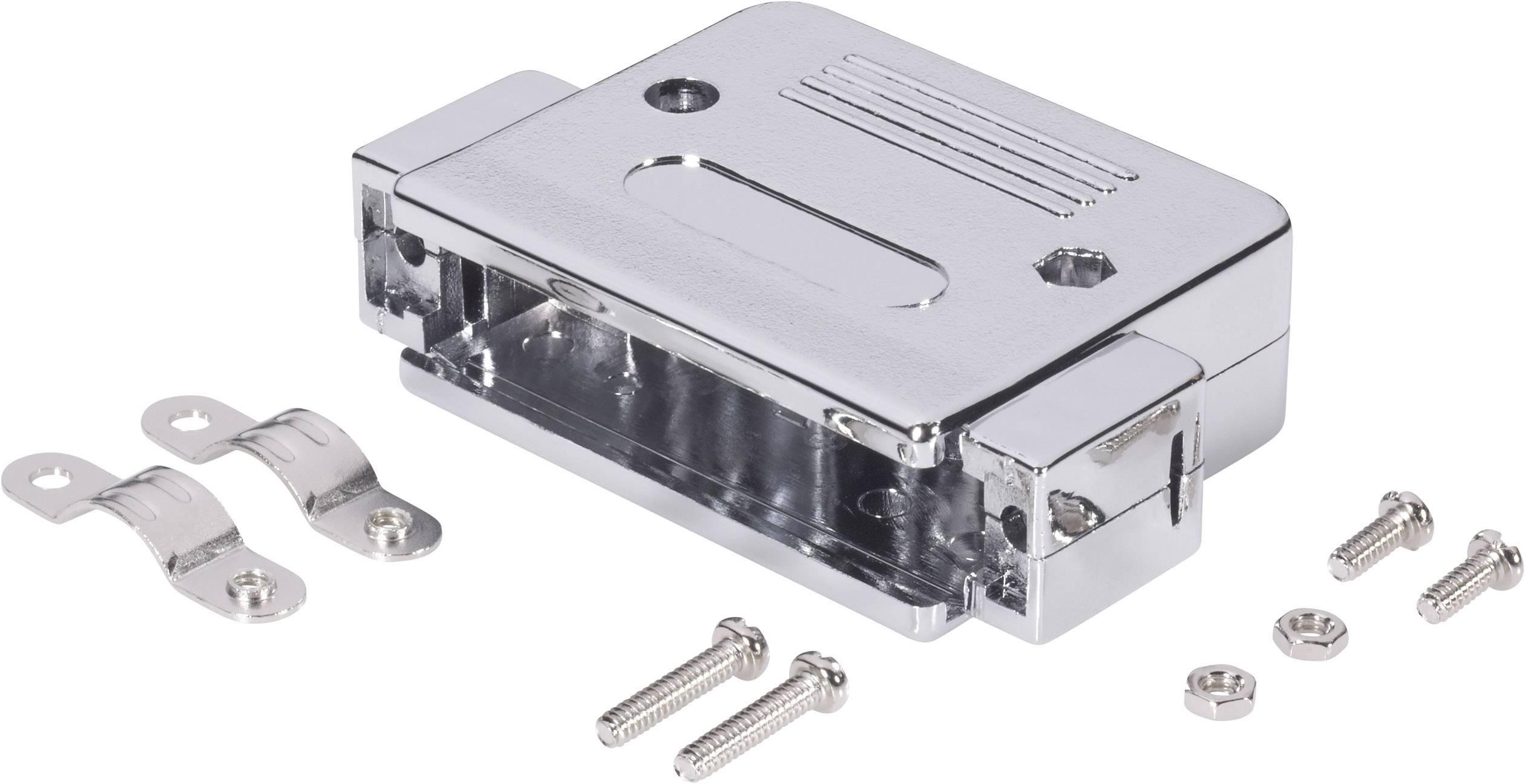 D-SUB púzdro BKL Electronic 10120077 10120077, Počet pinov: 15, plast, pokovaný, 180 °, strieborná, 1 ks