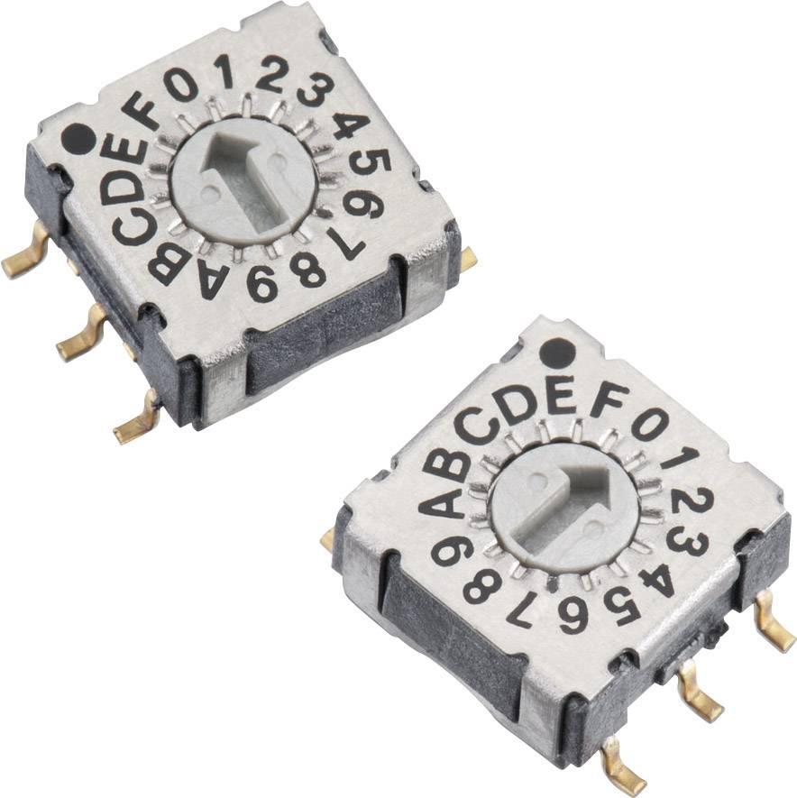 Otočný přepínač Würth 428521320816, 16 poloh, 24 V/DC, 0,15 A, SMD, světle šedá