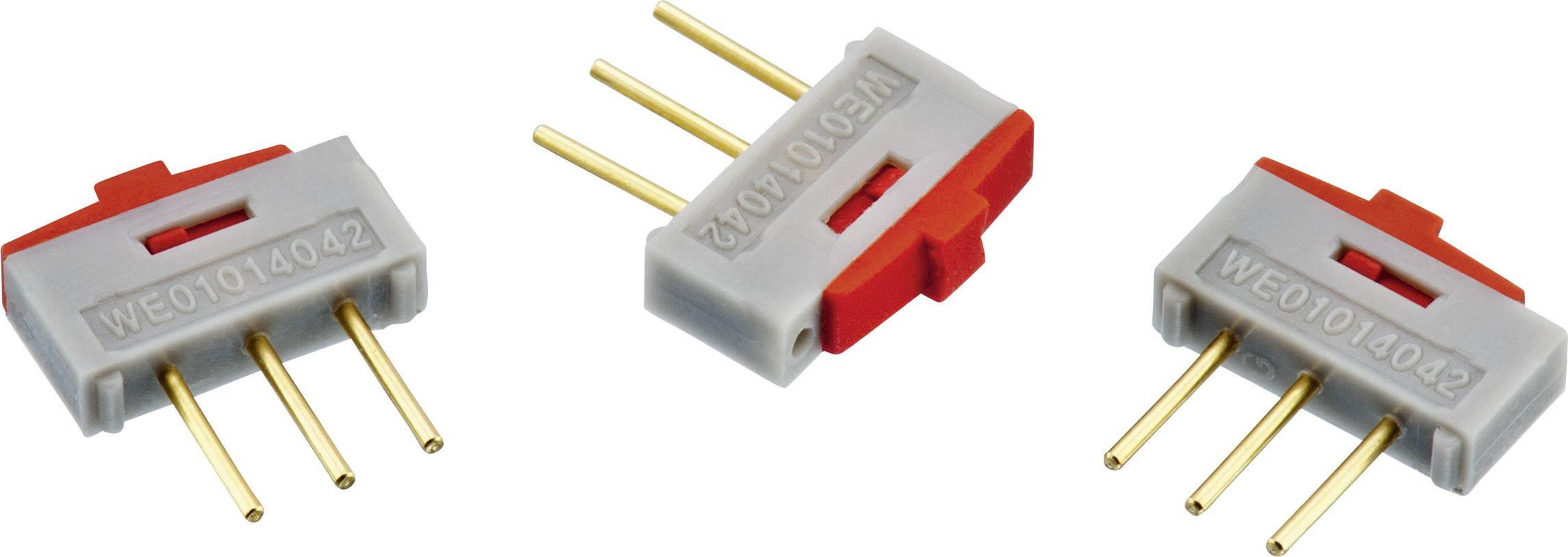 Posuvný přepínač do DPS Würth Elektronik 450301014042, 1x zap/zap, šedá/červená