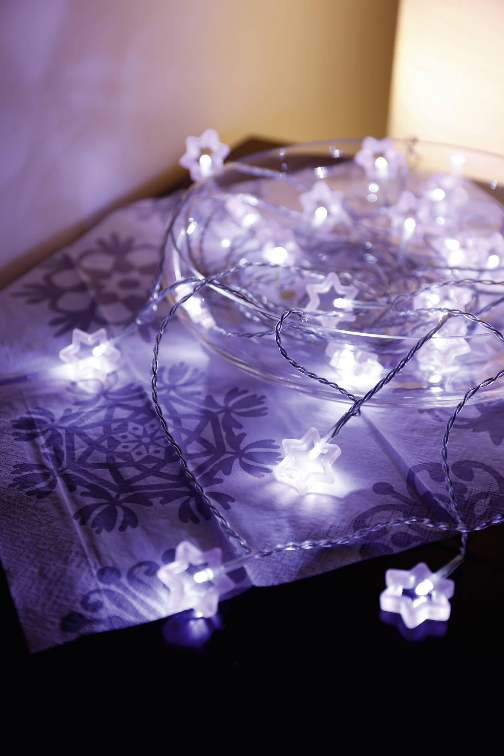 Vnútorná vianočná reťaz Polarlite, hviezdičky, 20 LED, teplá biela
