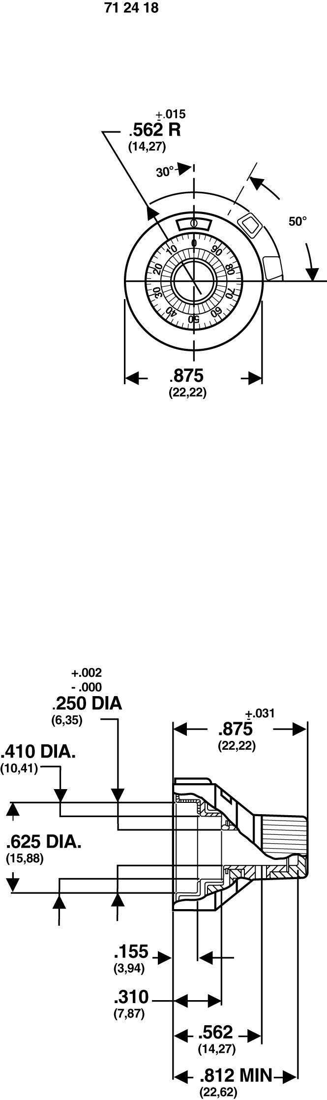 Nastavitelná stupnice Vishay 16.01.11, rozsah 0-100, 6,35 mm