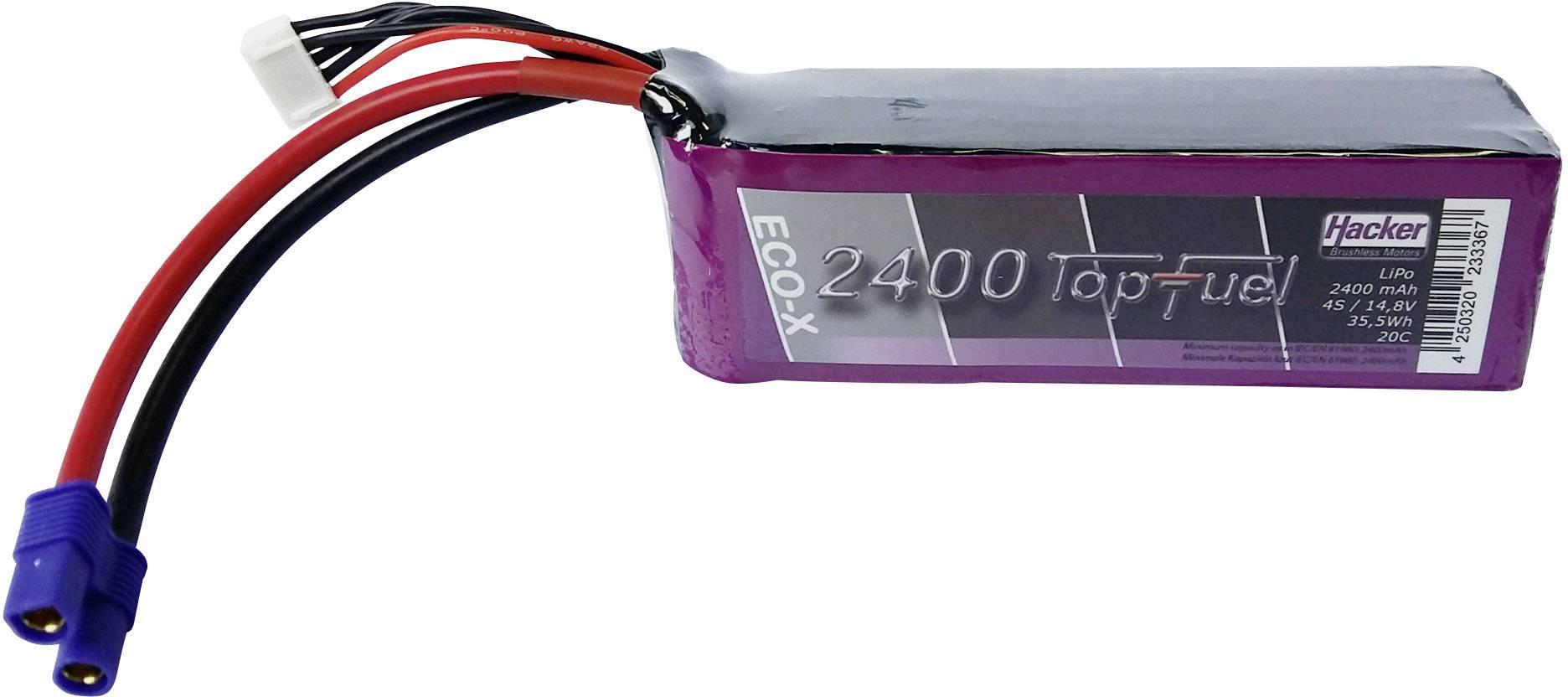 Akupack LiPol Hacker EC3, 22400431, 14.8 V, 2400 mAh, 20 C