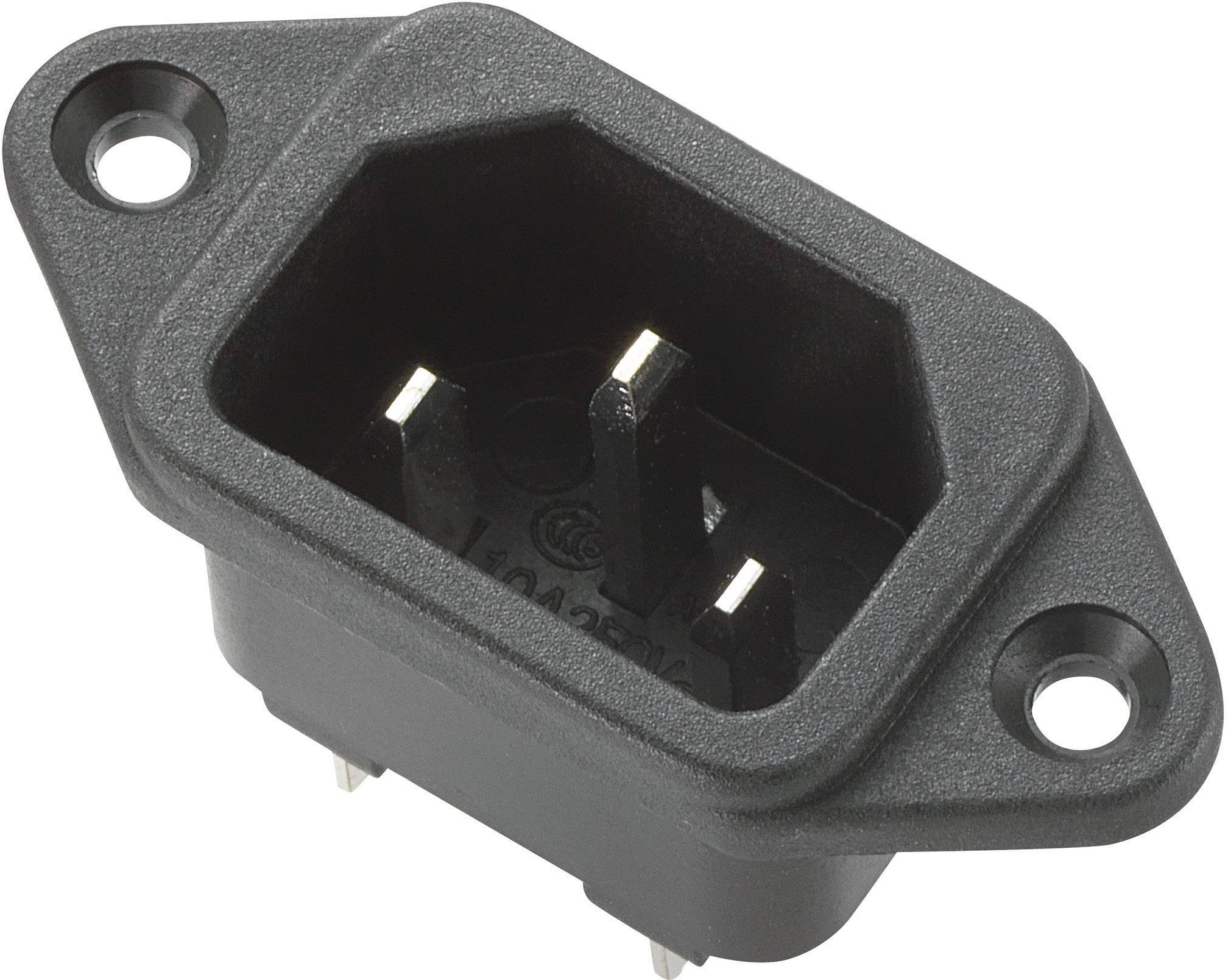 IEC zástrčka C13/C14 C14, zástrčka, vstaviteľná vertikálna, počet kontaktov: 2 + PE, 10 A, 250 V, čierna, 1 ks