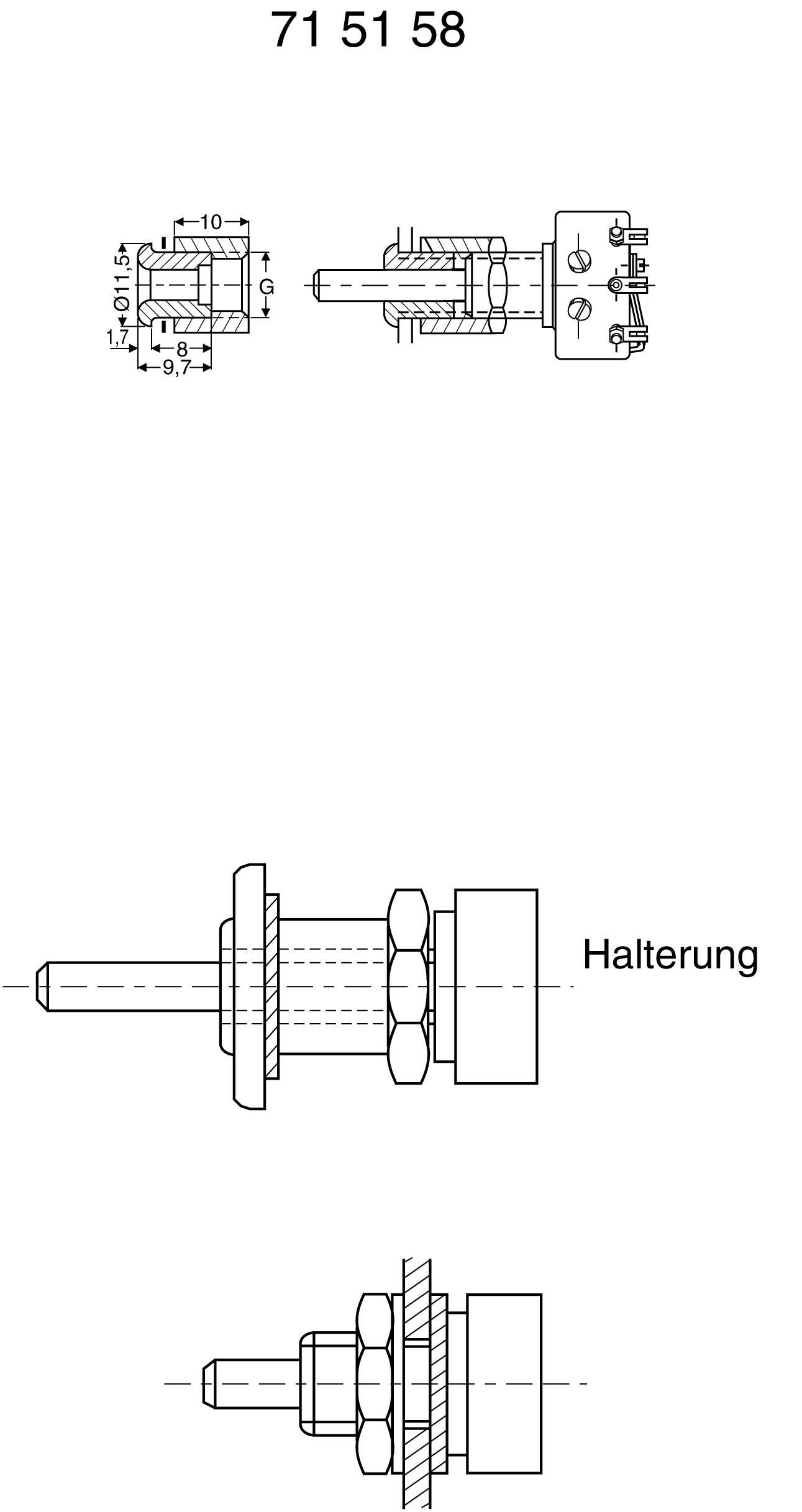 Úchytka pro potenciometr M 10x0.75