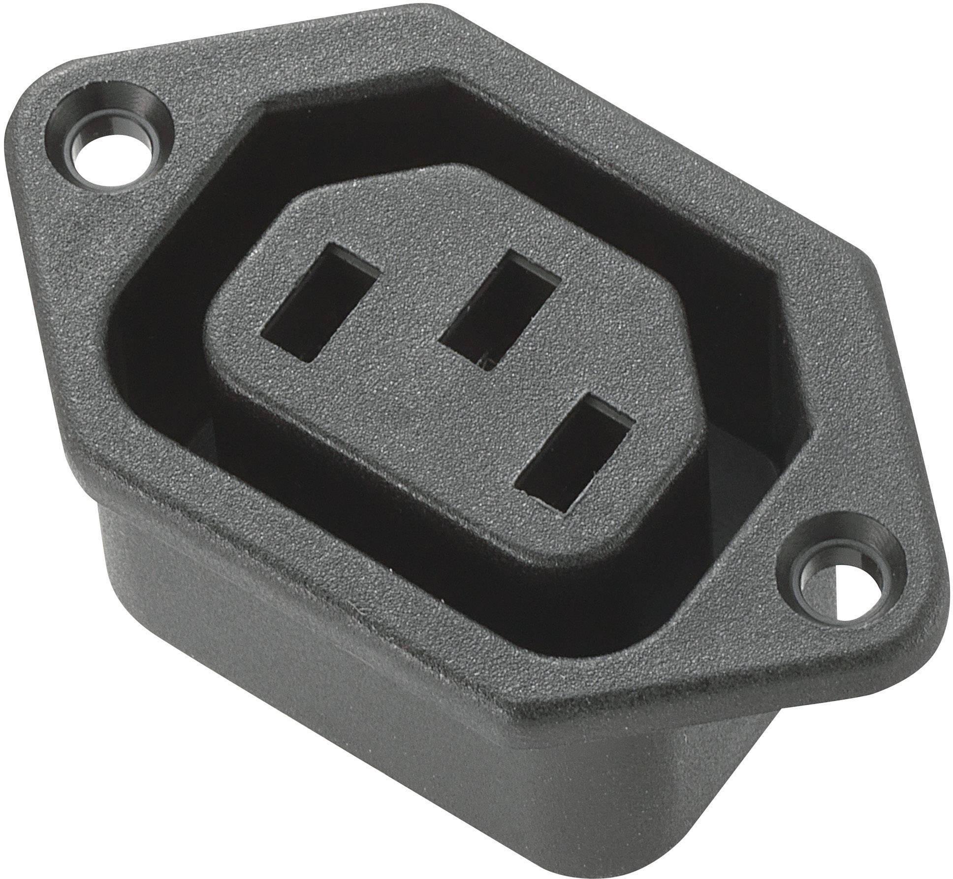 IEC zástrčka C13/C14 C13, zásuvka, vstavateľná vertikálna, počet kontaktov: 2 + PE, 10 A, 250 V, čierna, 1 ks