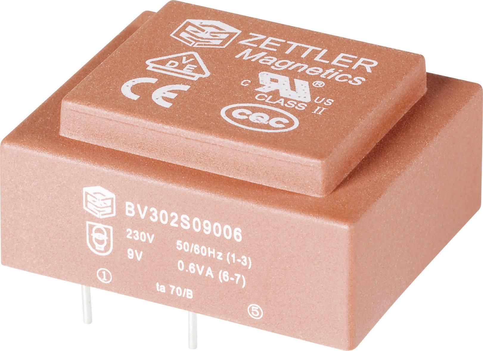 Transformátor do DPS Zettler Magnetics El30, 230 V/2x 9 V, 2x 33 mA, 0,6 VA