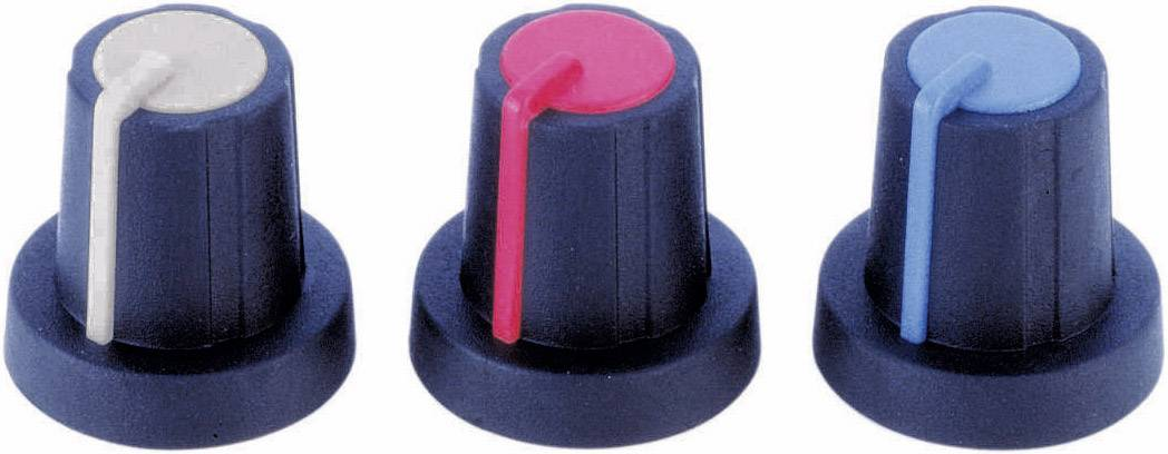 Otočný gombík PB Fastener 3/03/TPN 110006, (Ø x v) 16 mm x 16 mm, čierna, červená, 1 ks