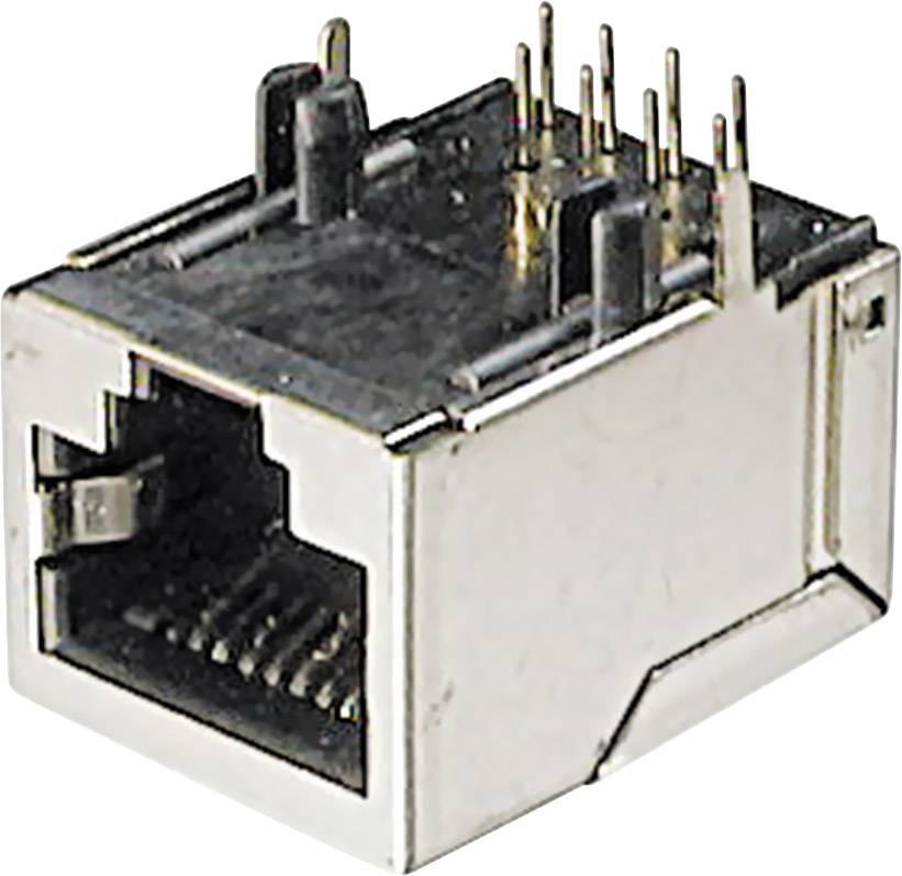 RJ45 zásuvka, vstavateľná horizontálna ASSMANN WSW A-20042-LP/FS, počet pólov: 8, strieborná, 1 ks