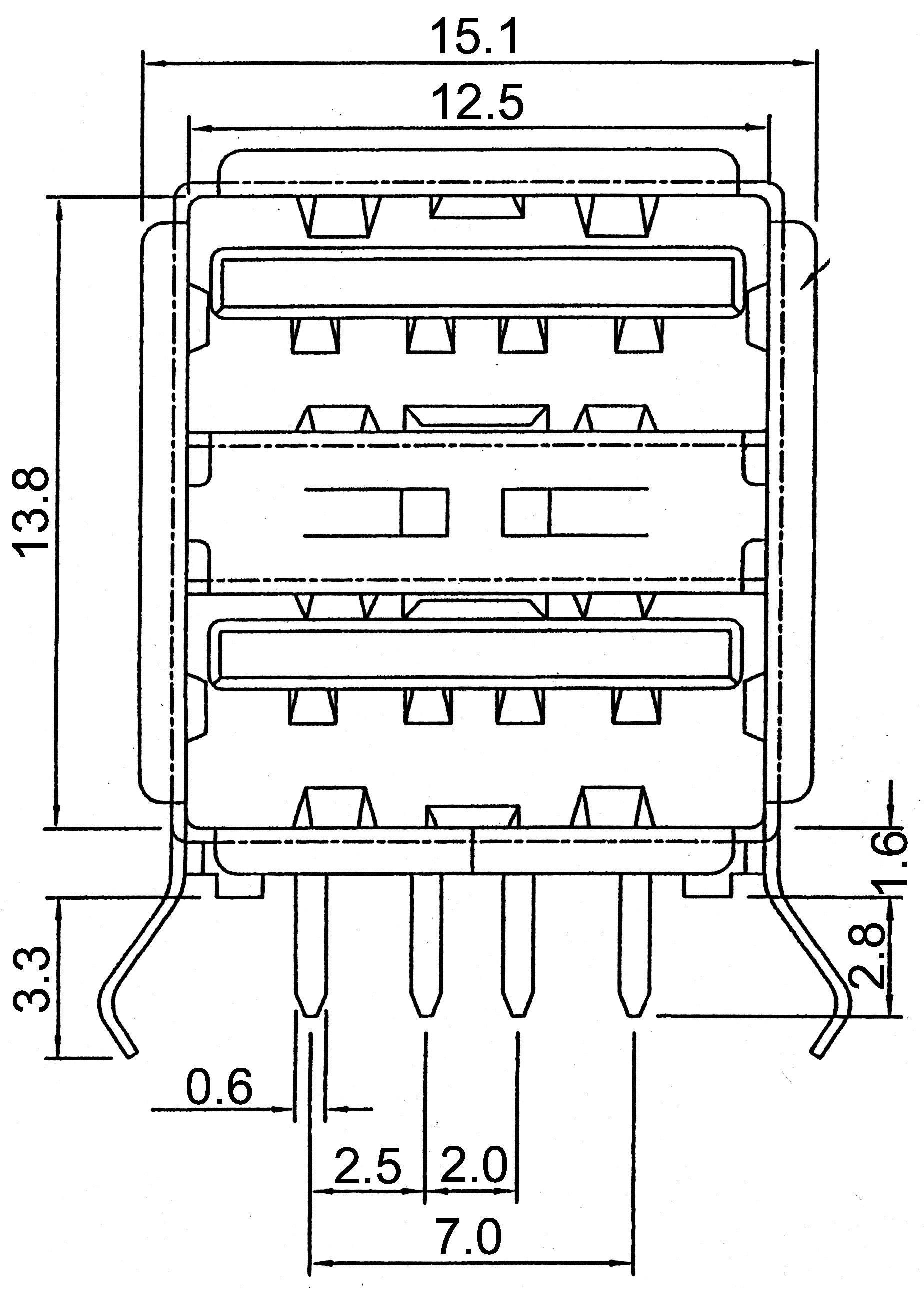 USB-zabudovateľná zdierka 2.0 - Dual Port