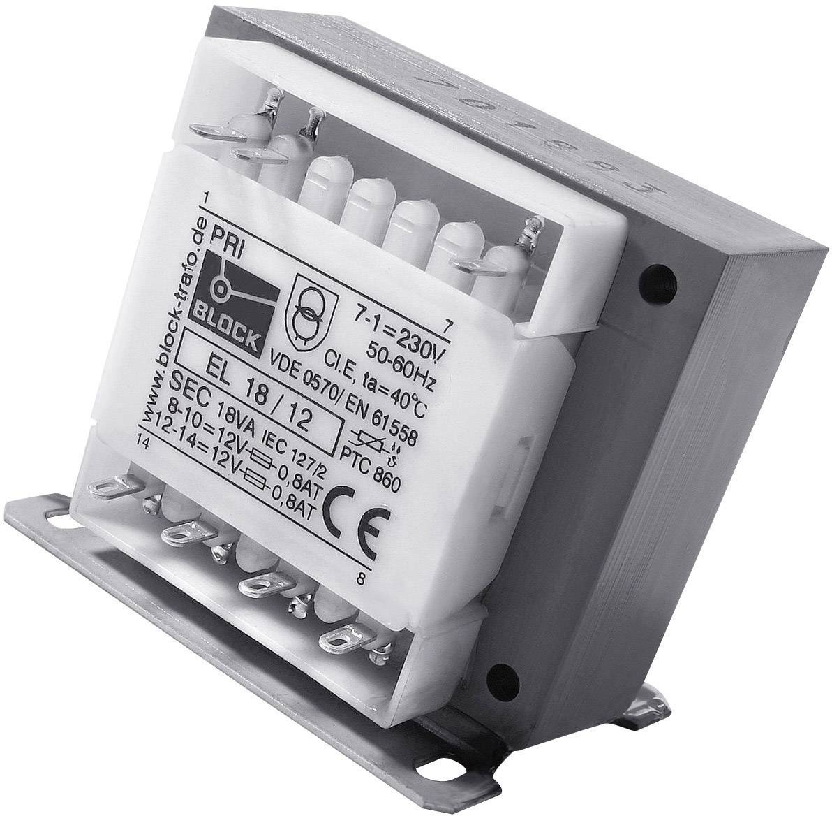 Bezpečnostní transformátor Block EL 13/18, 2x 18 V, 13 VA