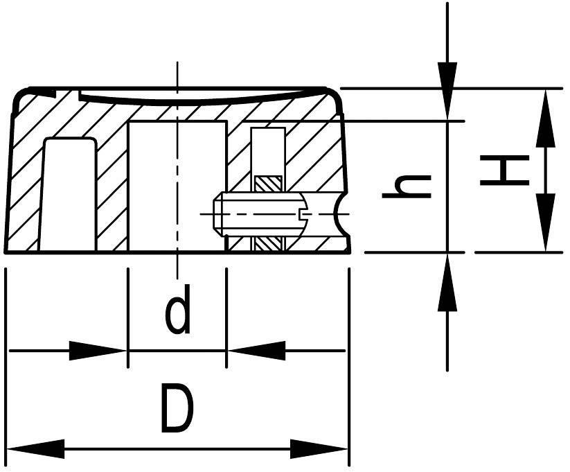 Otočný gombík OKW A1321260, (Ø x v) 21 mm x 10 mm, hliník, čierna, 1 ks
