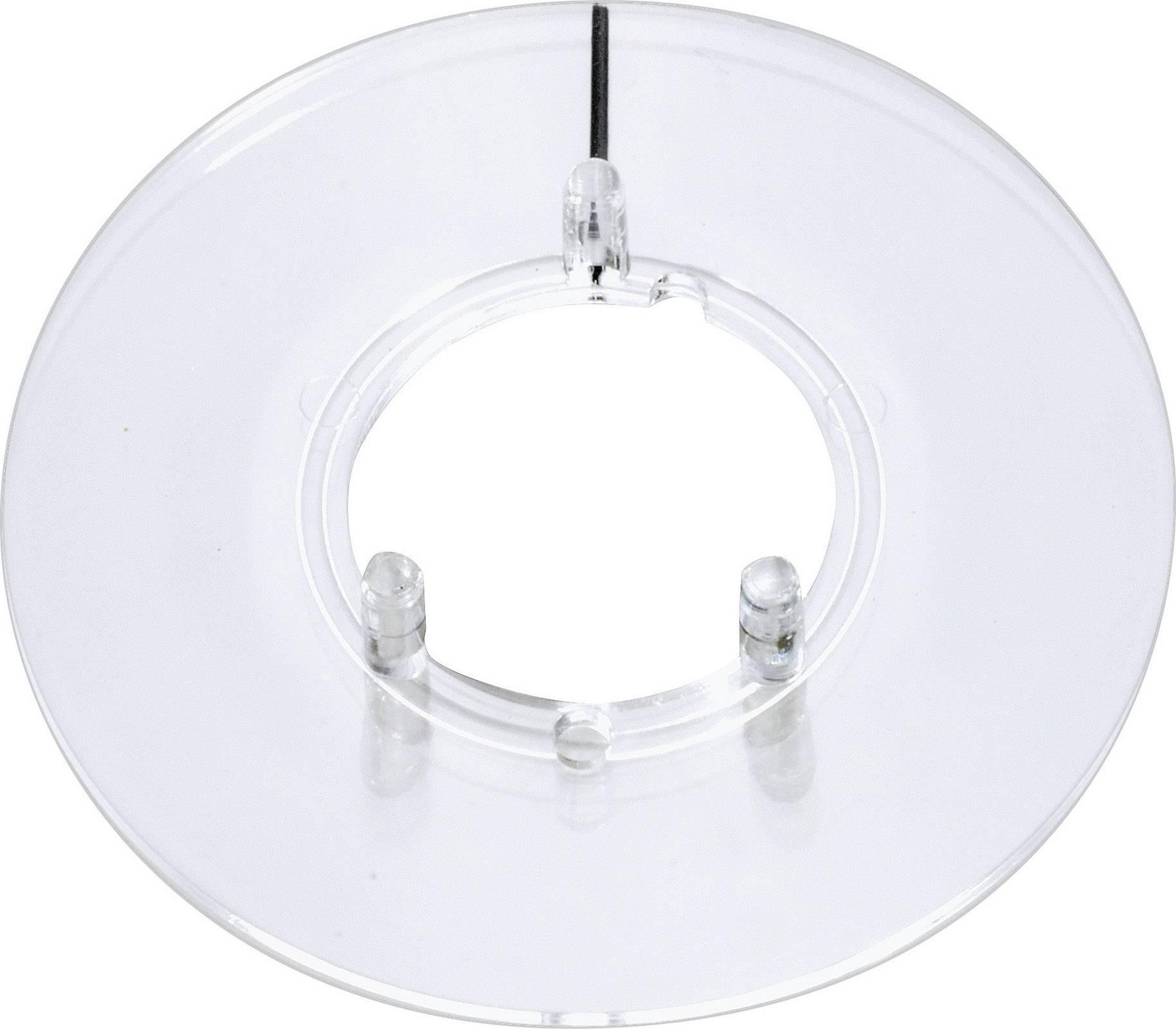 Kruhová stupnice s ukazatelem OKW, vhodná pro knoflík Ø 23 mm, transparentní