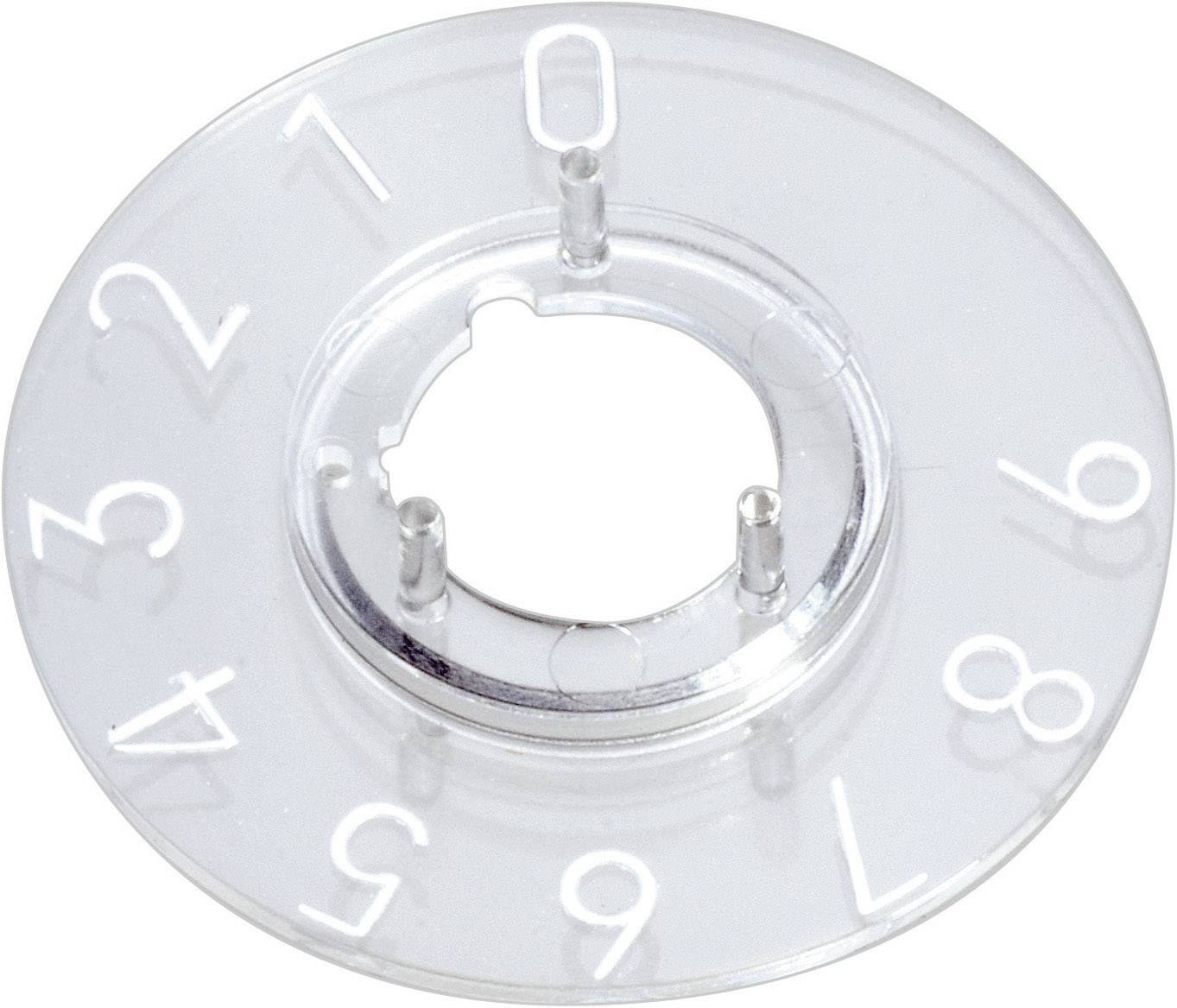 Kruhová stupnice OKW, vhodná pro knoflík Ø 10 mm,rozsah 1-10, transparentní