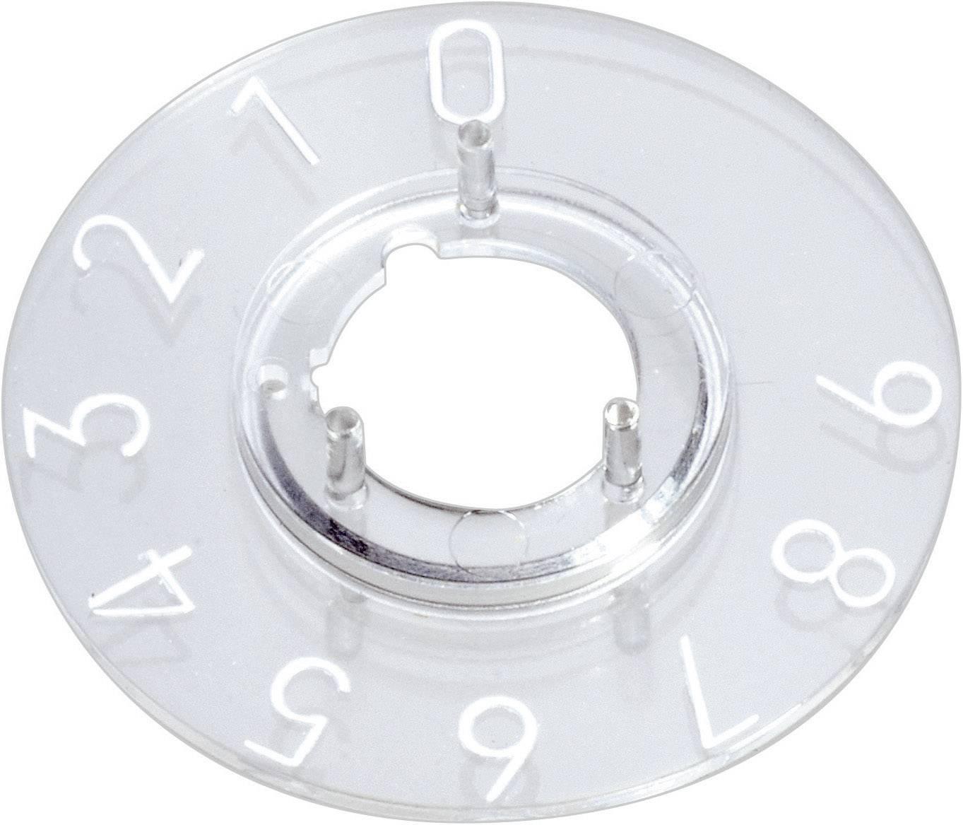 Kruhová stupnice OKW, vhodná pro knoflík Ø 23 mm,rozsah 0-9, transparentní